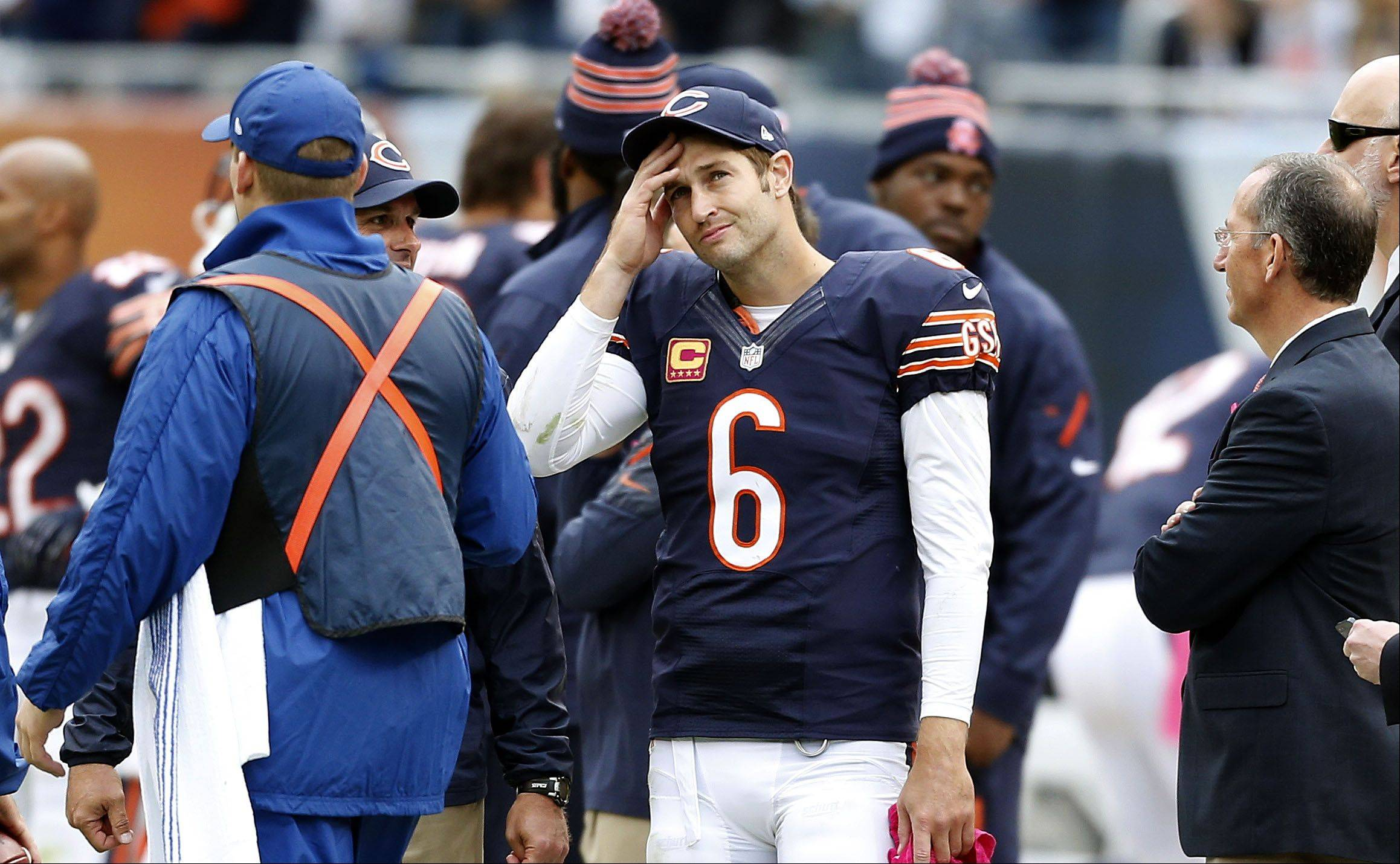 Chicago Bears quarterback Jay Cutler looks upset on the sidelines during the Bears 26-18 loss to the New Orleans Saints Sunday at Soldier Field in Chicago.