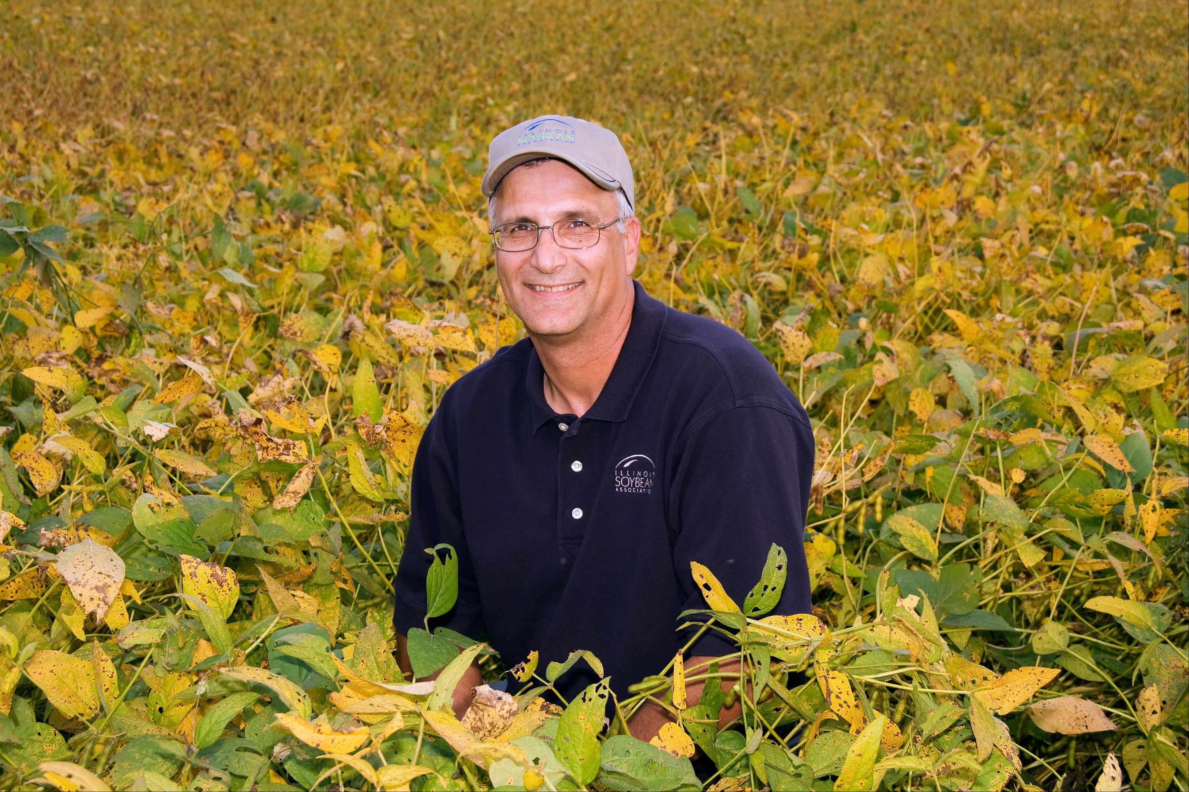 Farmer Ron Moore surrounded by his soybean plants outside Roseville, Ill. Legislation proposed in Springfield would require farmers and manufacturers to label any food that's available for retail sale in Illinois and that contains more than 1 percent of genetically engineered ingredients.