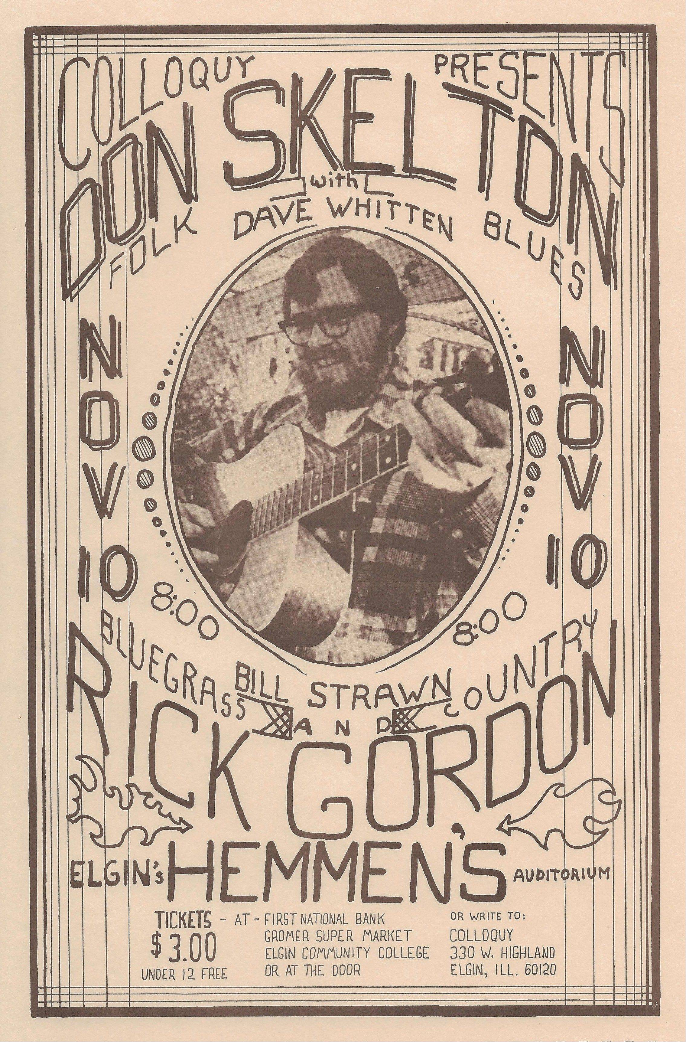 A poster advertising the Don Skelton concert of Nov. 10, 1973. Ticket prices were only $3.