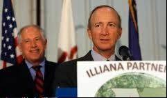 Daily Herald File Photo Gov. Pat Quinn and former Indiana Gov. Mitch Daniels kicked off the Illiana Expressway with a memorandum of understanding in 2010.