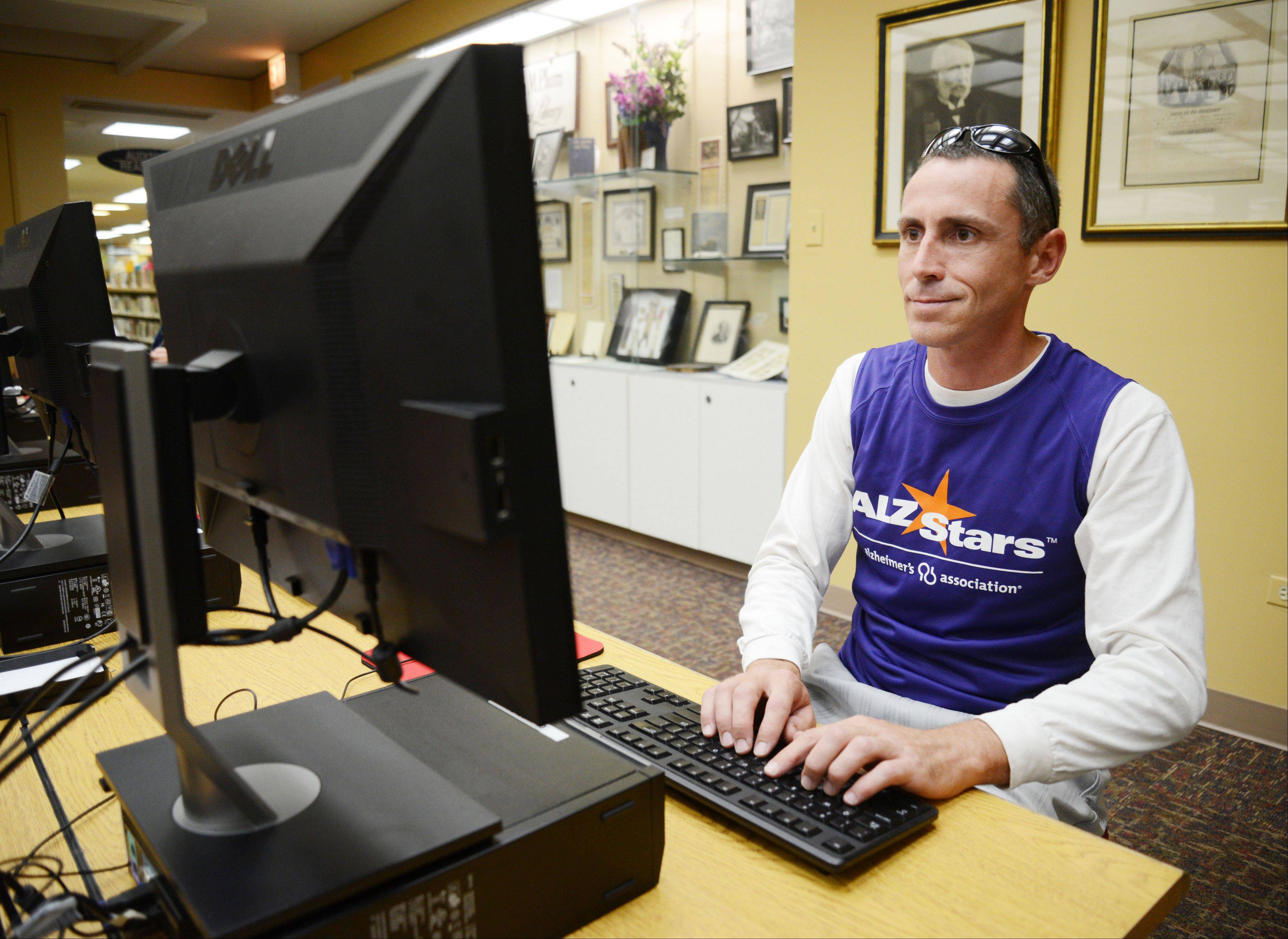 William Glass of Lombard did a great deal of research at the Helen Plum Library before embarking on a 750-mile journey to walk, alone, to Atlanta to raise money and awareness for the fight against Alzheimer�s disease. His mother was diagnosed with the disease in 2010.