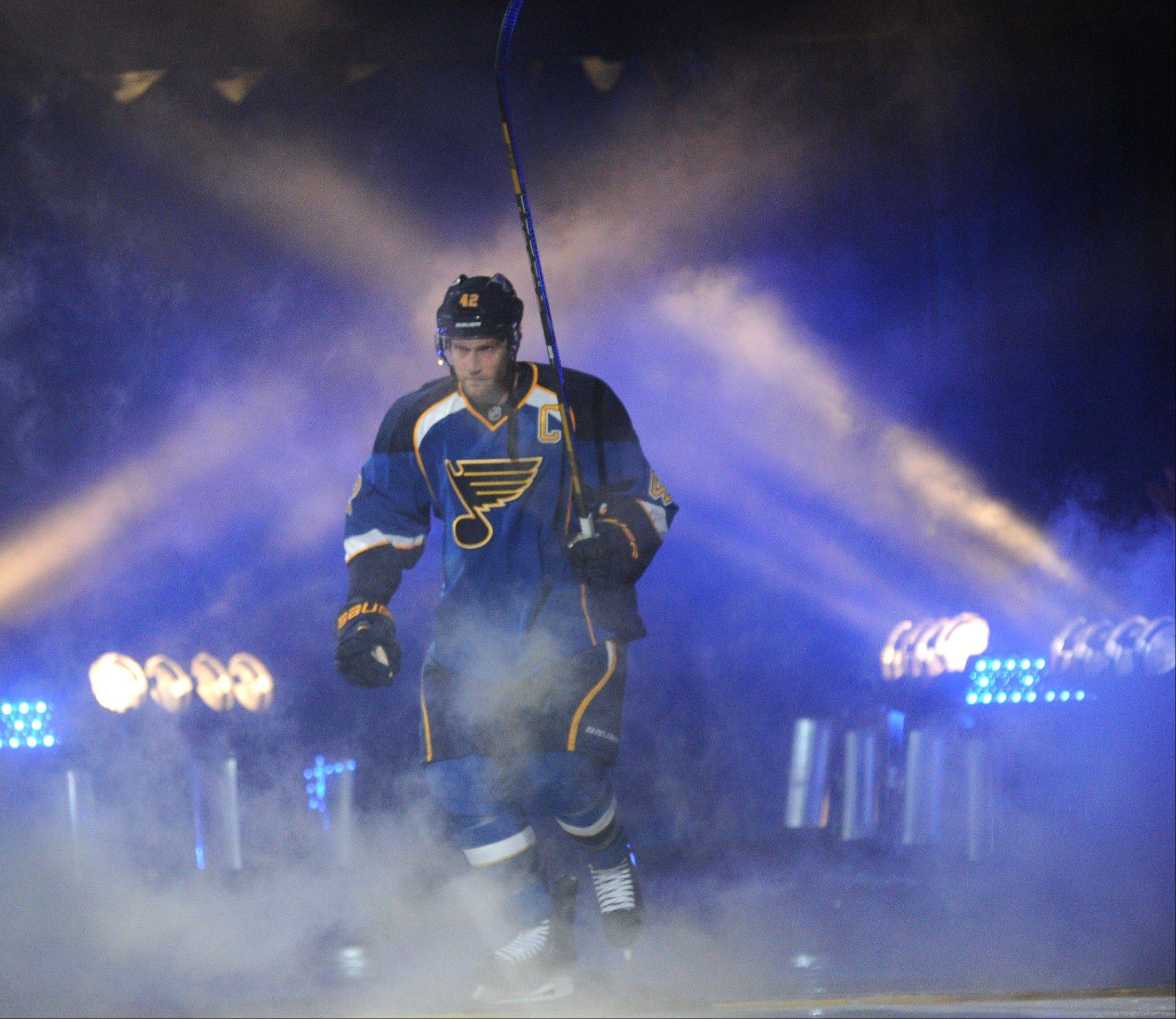 The Blues like to play a physical game, led by captain David Backes. The Blackhawks play their first road game Wednesday night at St. Louis.