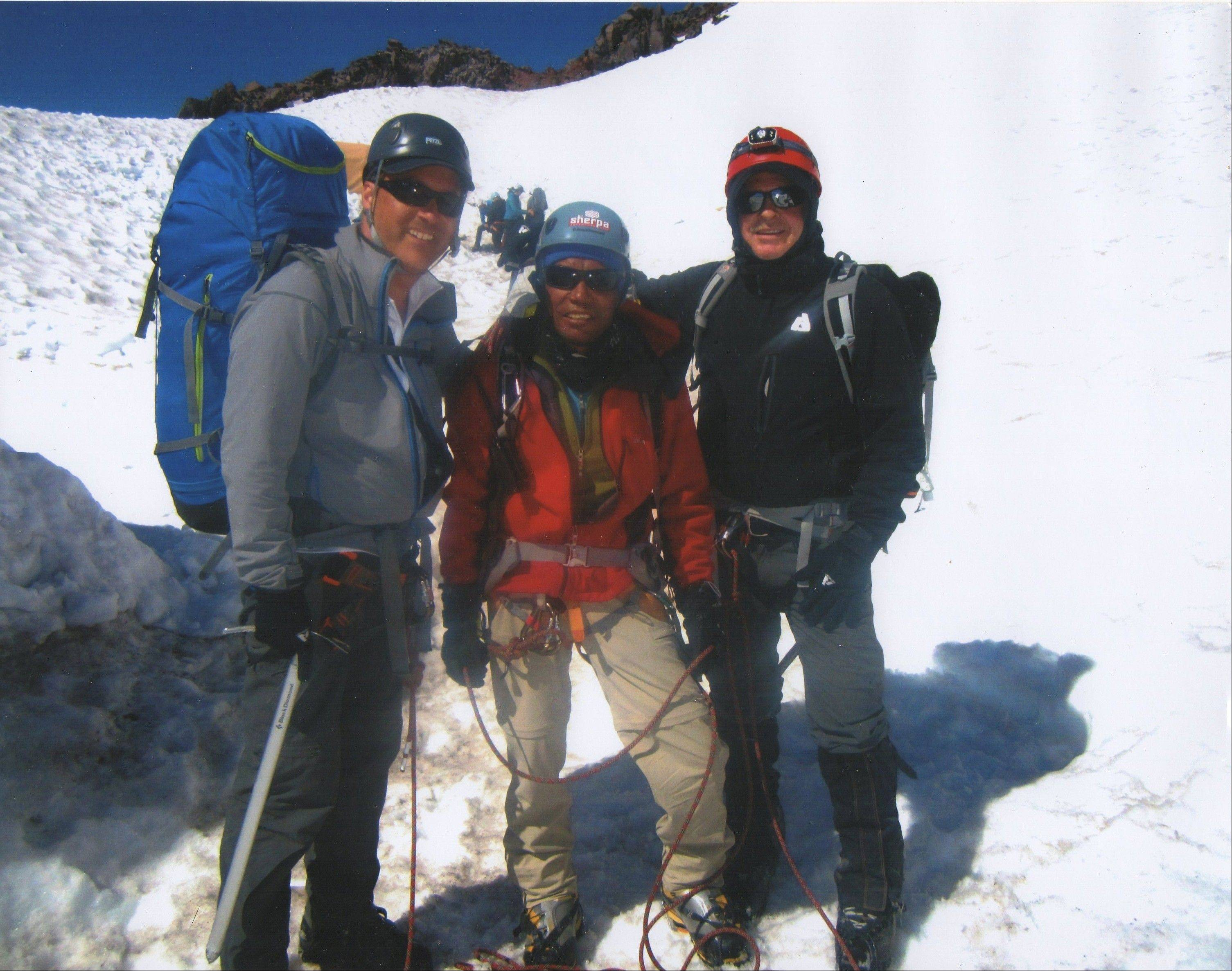 Thomas Beckworth, from left, Lakpa Rita Sherpa, and Jack Teboda