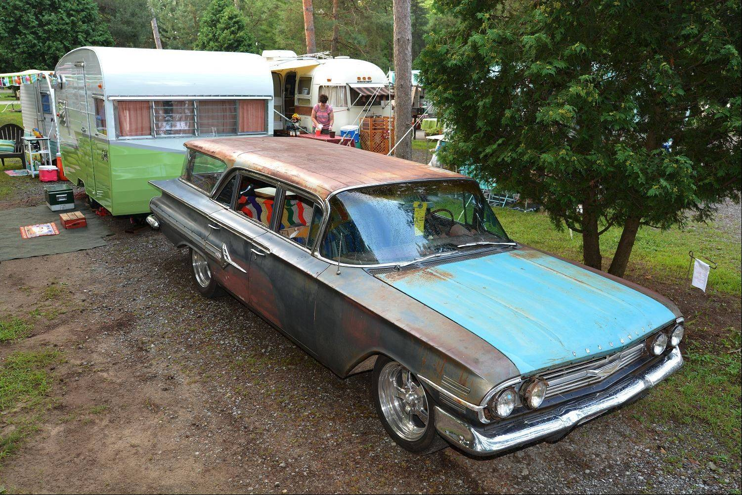 For that true yesteryear look, many of the enthusiasts opt to tow their vintage trailer with a vintage car. Jeff and Paula Higdon, of Whitesville, Ky., are overhauling this 1960 Chevrolet Impala Nomad and use it to haul their 1963 Shasta AirFlight trailer.