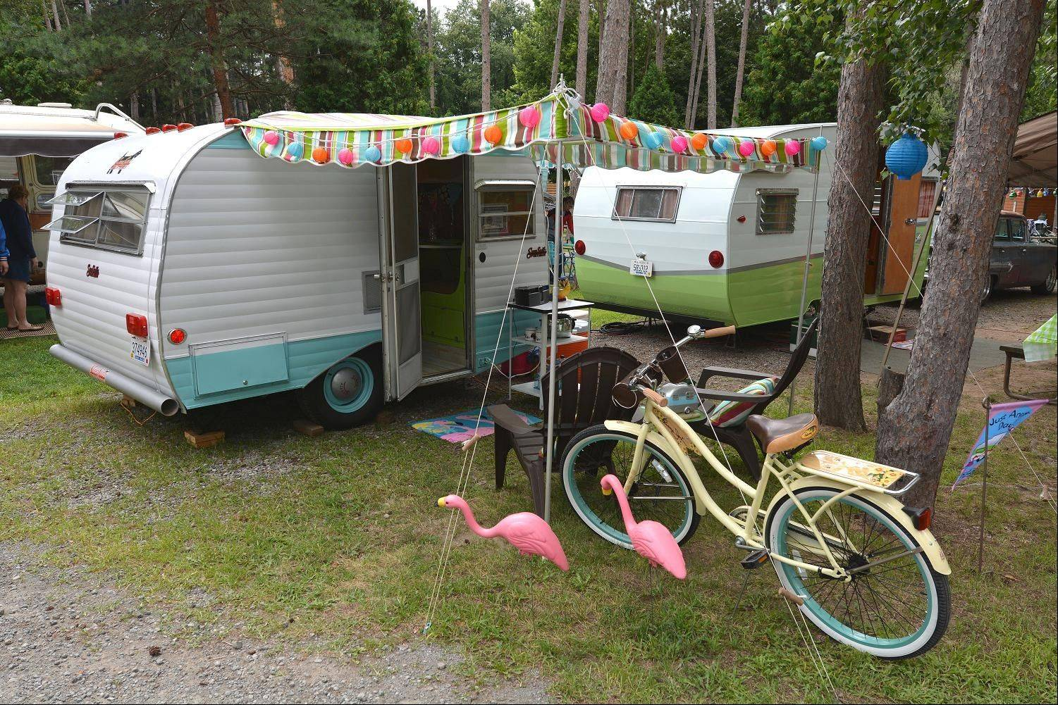 The campground is dotted not only with vintage trailers but other whimsical touches from the 1950s and 60s, such as bicycles, party lights and yard decorations.