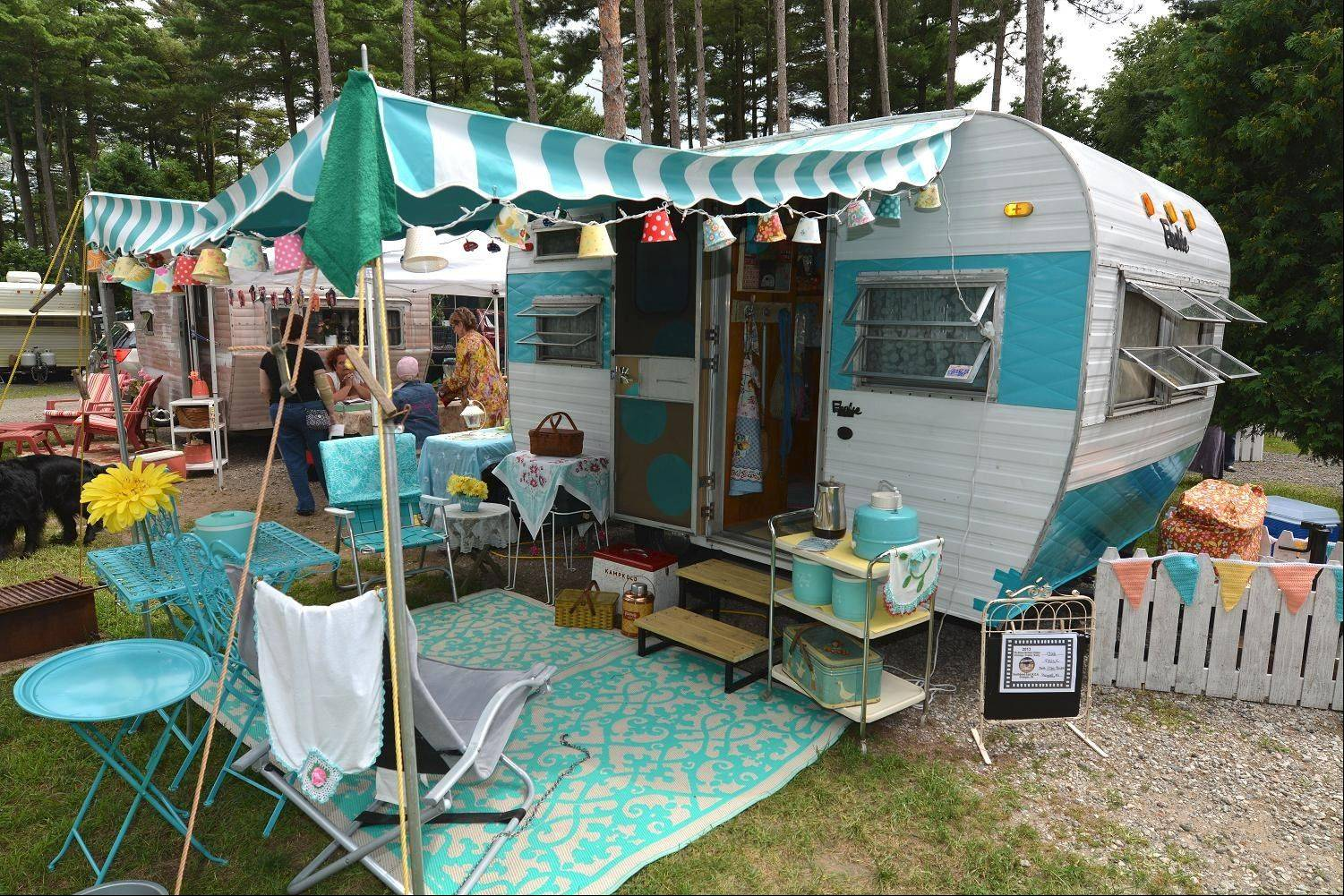 "Beth Brickler, of Plainwell, Mich., purchased this 1966 Frolic Standard trailer sight unseen. She then embarked on an 8-month restoration. ""I love the retro themes and the vintage aspect but more than anything, the friendships!"""
