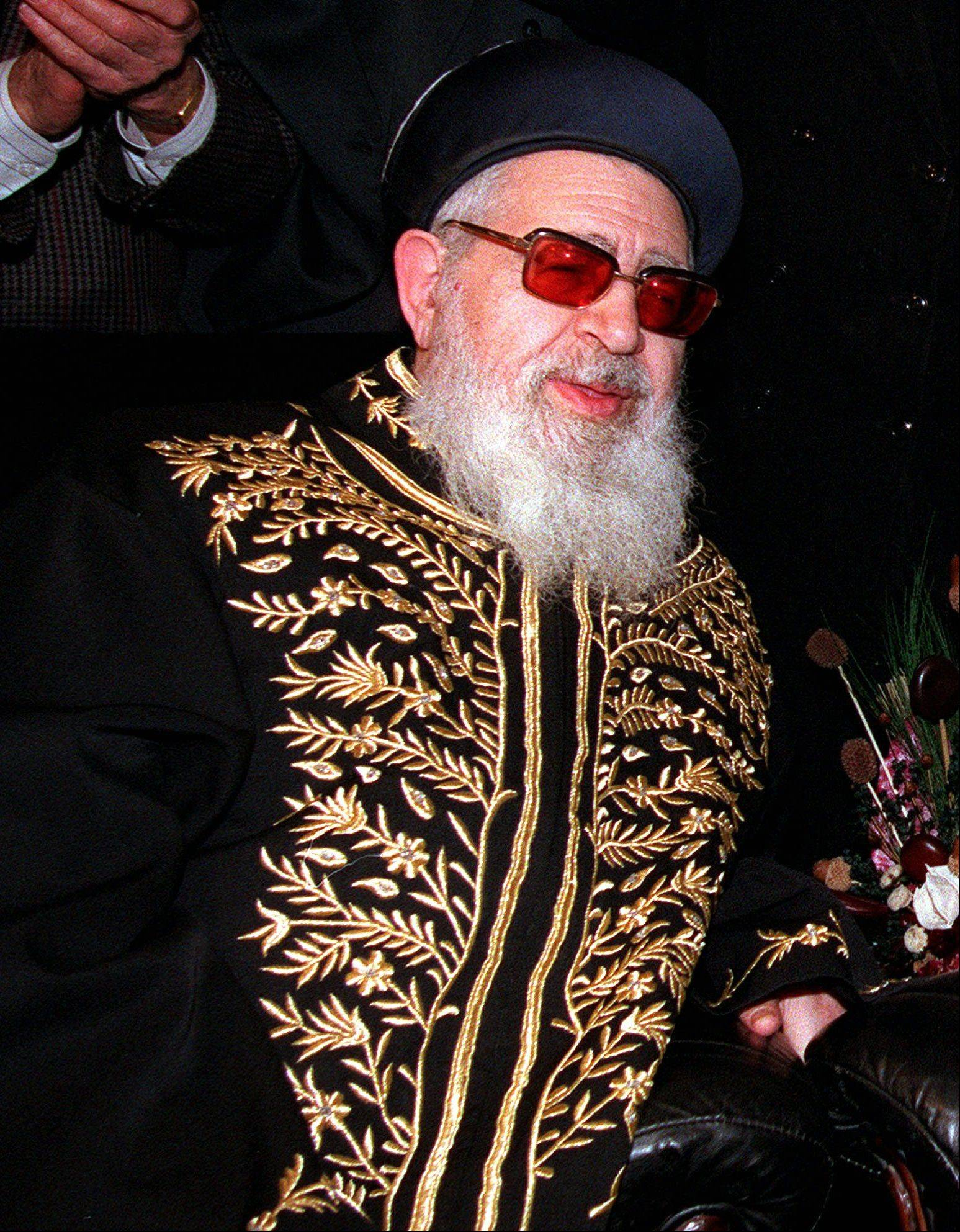 This April 20, 1997 file photo shows Shas party spiritual leader Rabbi Ovadia Yosef in Jerusalem. Rabbi Ovadia, the religious scholar and spiritual leader of Israel's Sephardic Jews who transformed his downtrodden community of immigrants from North Africa and Arab nations and their descendants into a powerful force in Israeli politics, has died. He was 93.