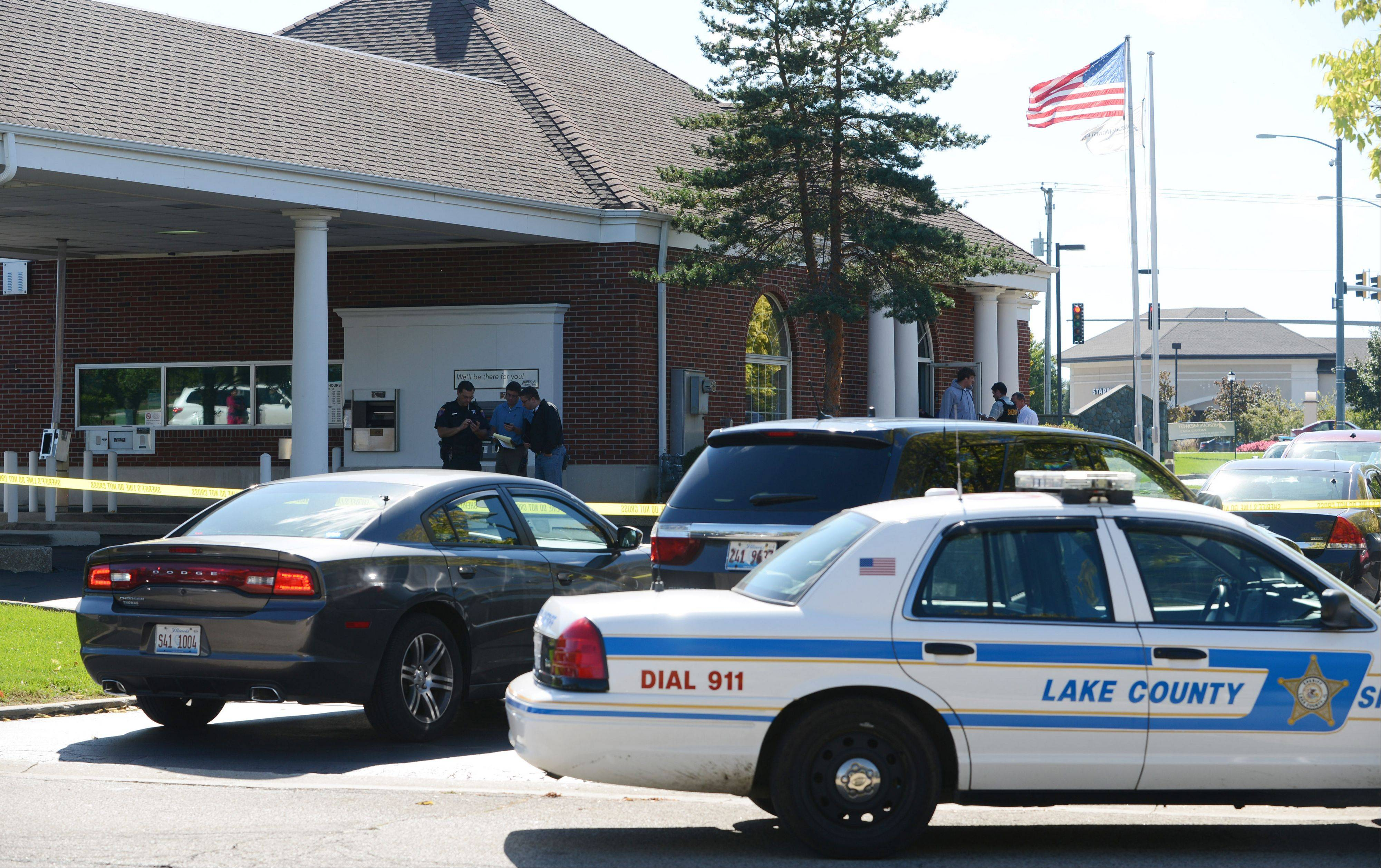 The American Midwest Bank near Gurnee was closed off as the Lake County sheriff's office investigates a robbery Monday.