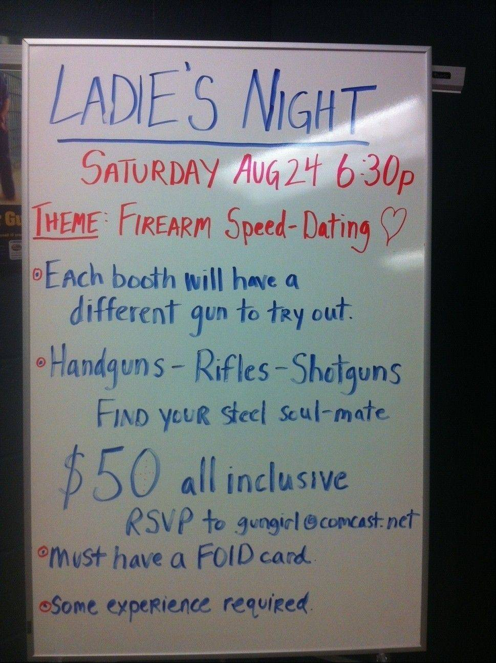 "A sign in Maxon, a gun range and shooter's supply story in Des Plaines, invites women to the ""Firearm Speed Dating"" party."