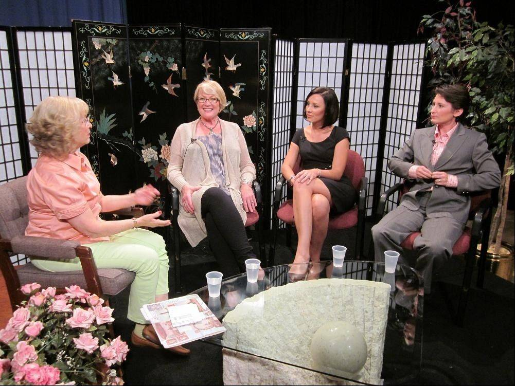 "The women from Maxon, an indoor gun range and shooting supply store in Des Plaines, talk with Roberta Markbreit, host of the Comcast cable TV show, ""Contempo,"" during a recent taping. Pictured from left to right are Markbreit, Maxon owner Claudia Levin, Maxon Operations Manager Ania Cienkowski and Maxon General Manager Sarah Natale."