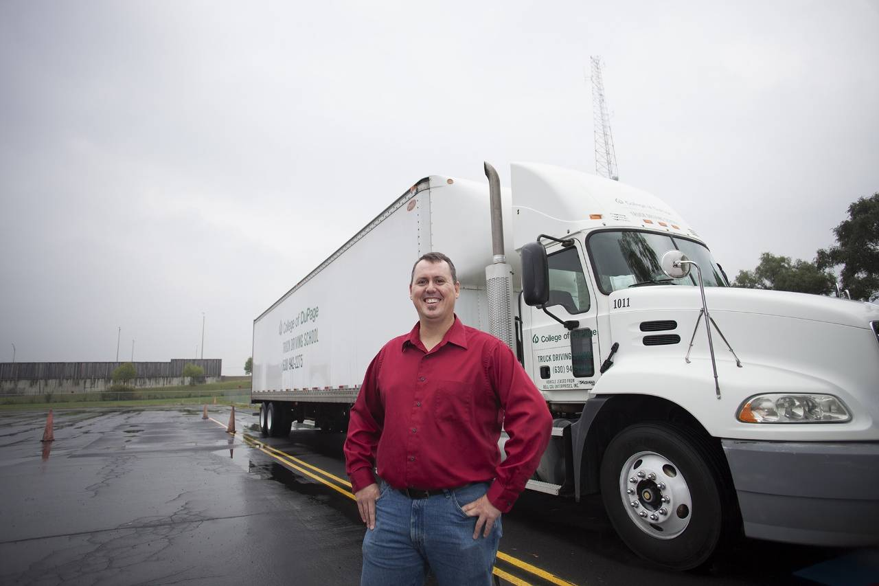 Photo is of Stewart Swartz (Naperville), 100th graduate of the CDL program