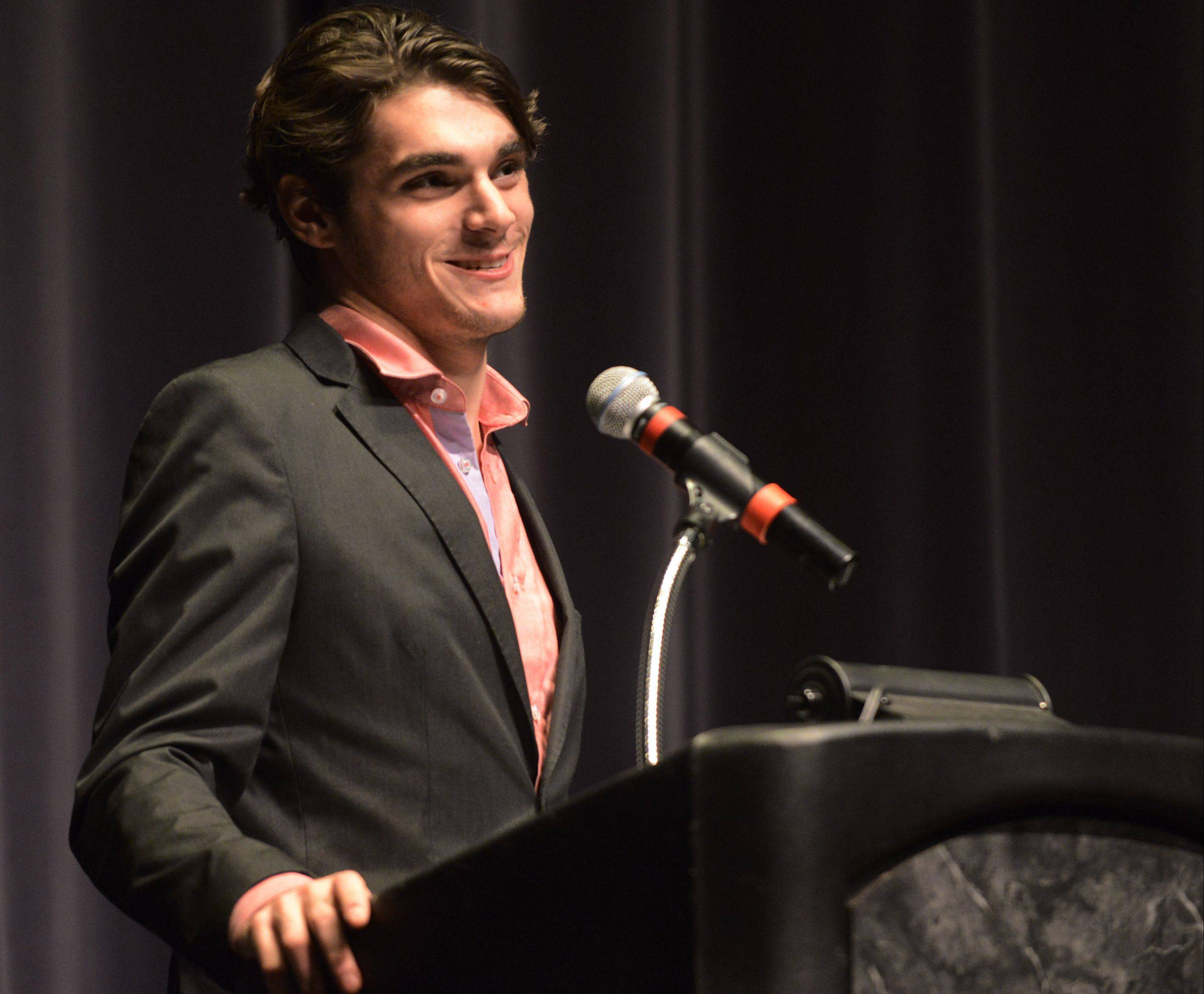 "R. J. Mitte, one of the stars of the hit AMC show ""Breaking Bad,"" speaks Tuesday at Harper College in Palatine. He played Walter ""Flynn"" White Jr. during the show's acclaimed five-season run that ended Sunday."