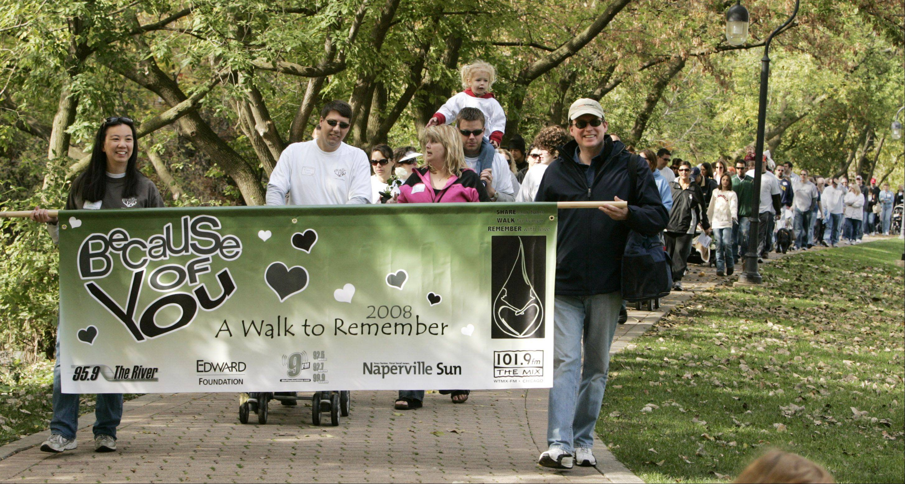 A Walk to Remember, founded in 2005, raises money for SHARE grief support groups and programs at Edward Hospital as well as the memorial Wings of Hope Angel Garden on the hospital campus.