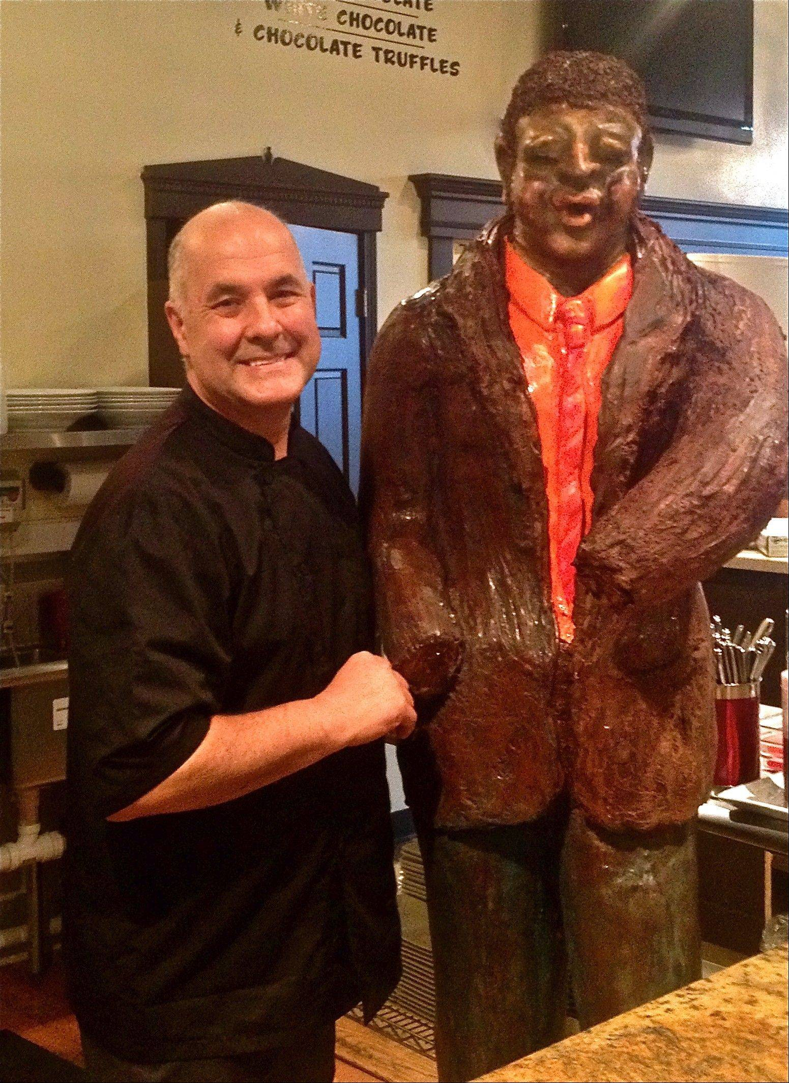 Pastry chef Alain Roby, owner of All Chocolate Kitchen in Geneva, has sculpted a blues musician out of 1,000 pounds of chocolate.