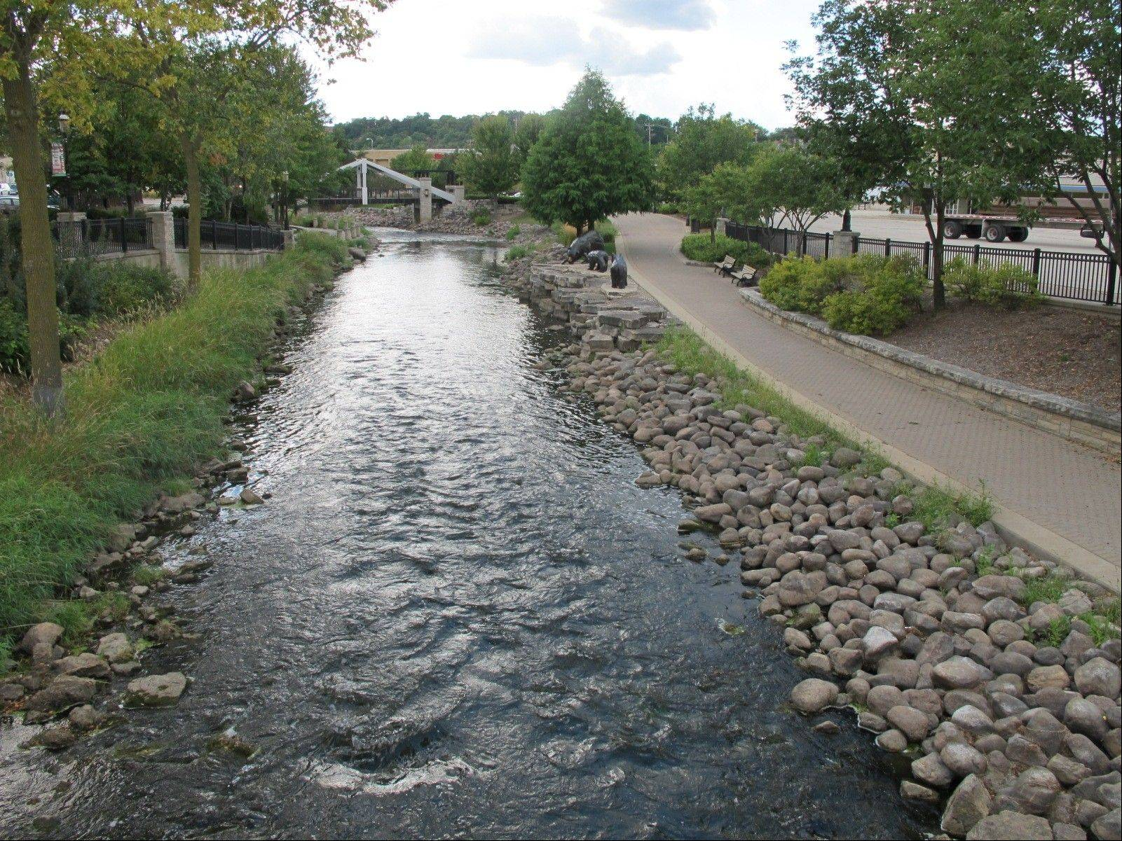 The Fox River flows through downtown Waukesha, Wis. The city of Waukesha is seeking permission to draw its drinking water from nearby Lake Michigan, because local officials say the river can't meet the city's needs.