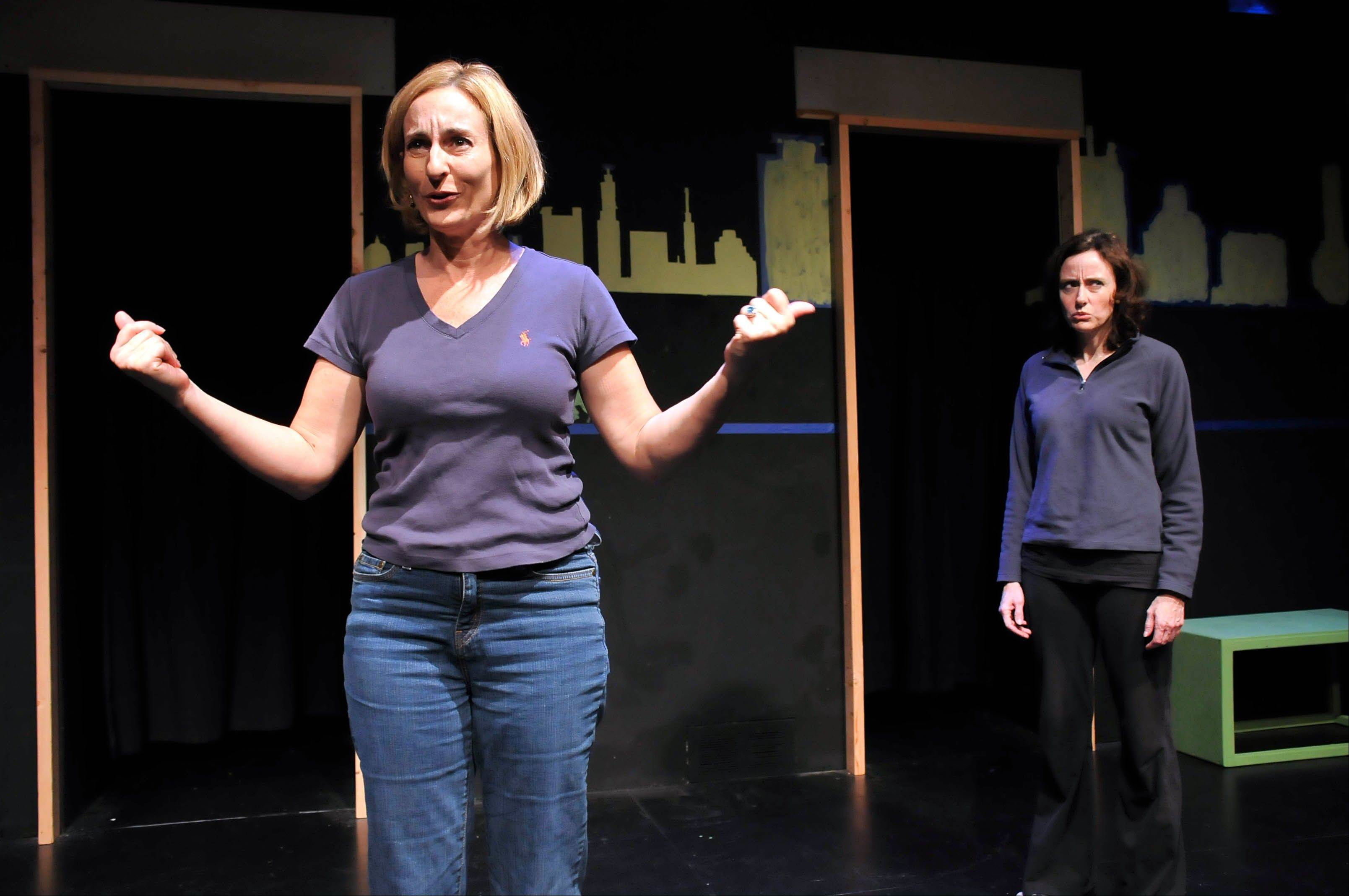 "Michelle Randag as Maggy Burroughs and Lori Rohr as Maggie Mulroney in Catherine Butterfield's ""Joined at the Head"" at the Village Theatre Guild in Glen Ellyn."