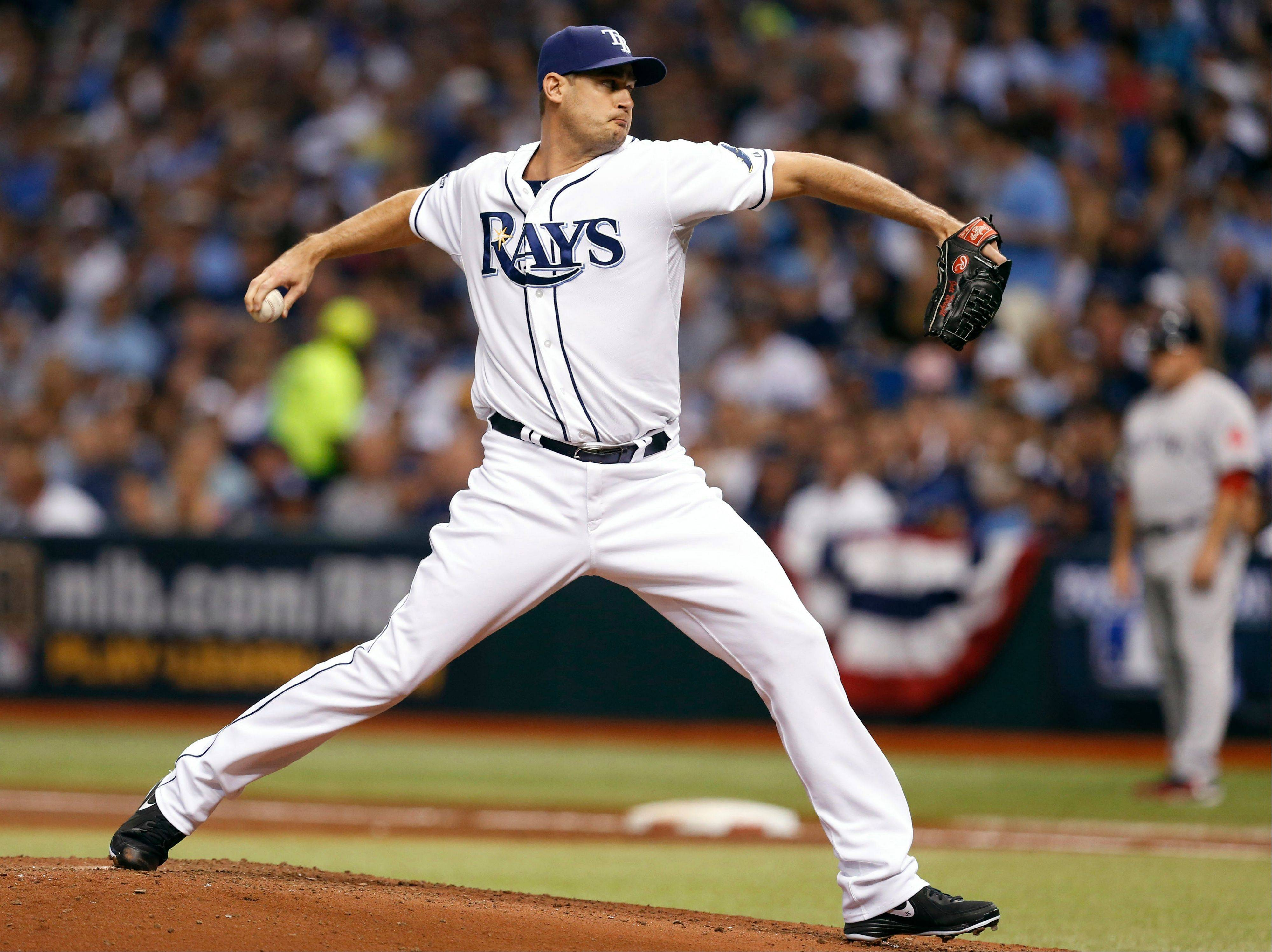 Tampa Bay Rays relief pitcher Jamey Wright throws in the second inning in Game 4 of an American League Division Series against the Boston Red Sox on Tuesday in St. Petersburg, Fla.