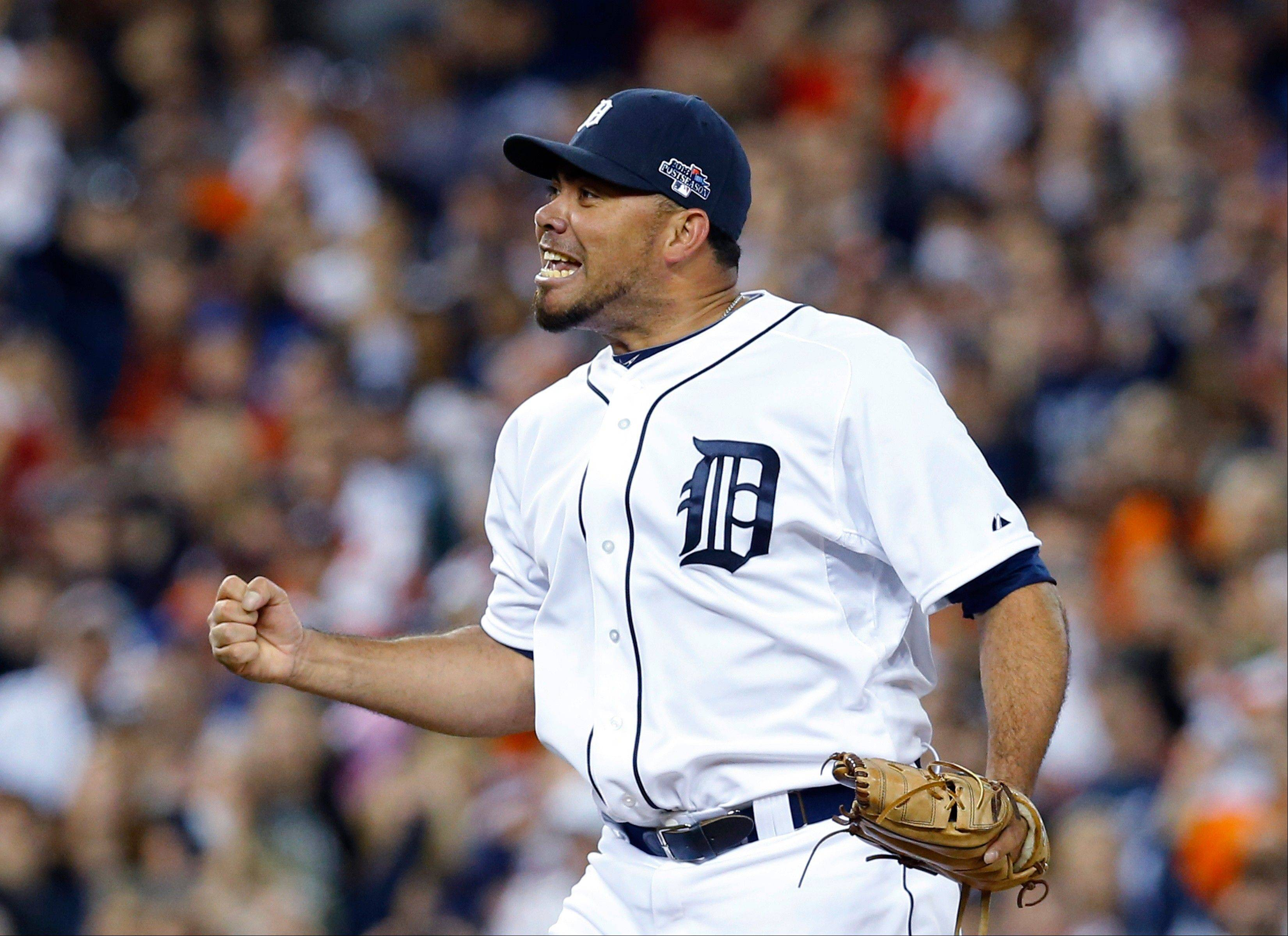 Tigers relief pitcher Joaquin Benoit reacts to the final out in Game 4 on Tuesday night in Detroit.