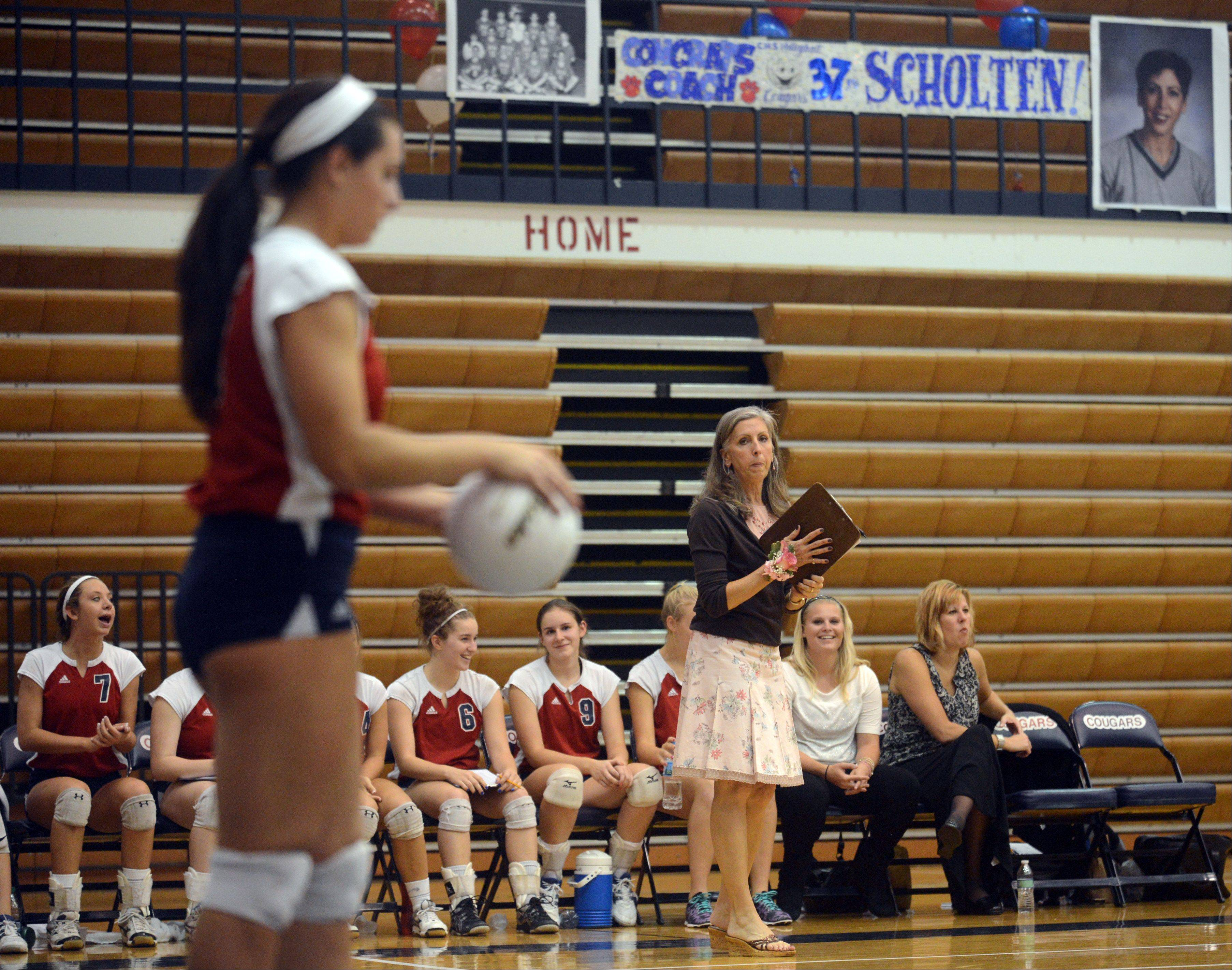 Conant volleyball coach Peggy Scholten was honored before a game with Schaumburg on Tuesday night at William N. Perry Gymnasium. Scholten is retiring after this, her 37th year of coaching.