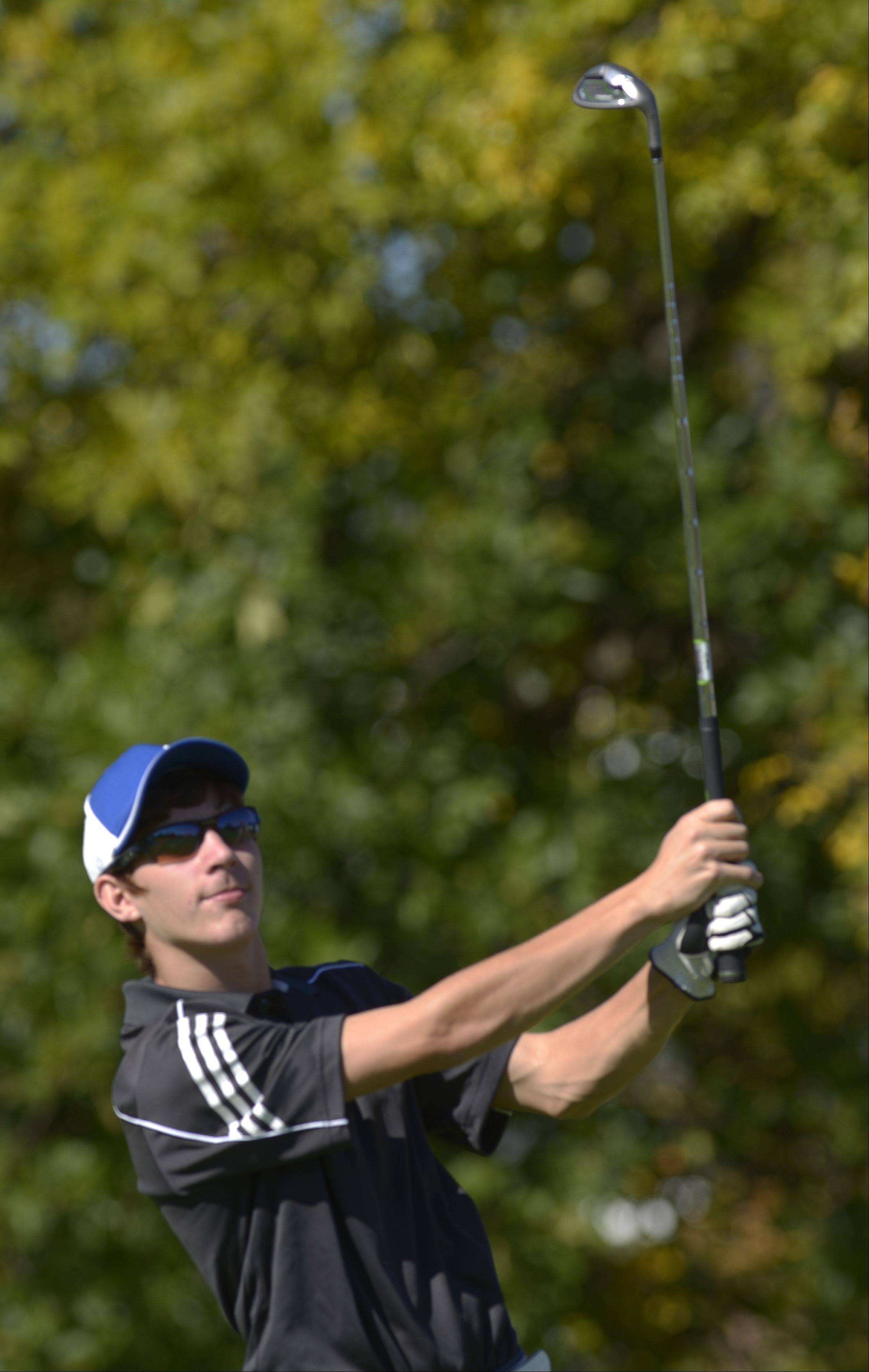 Mike Fratto of Willowbrook tees off during the Class 3A York regional boys golf at Maple Meadows Golf Course in Wood Dale, Tuesday.
