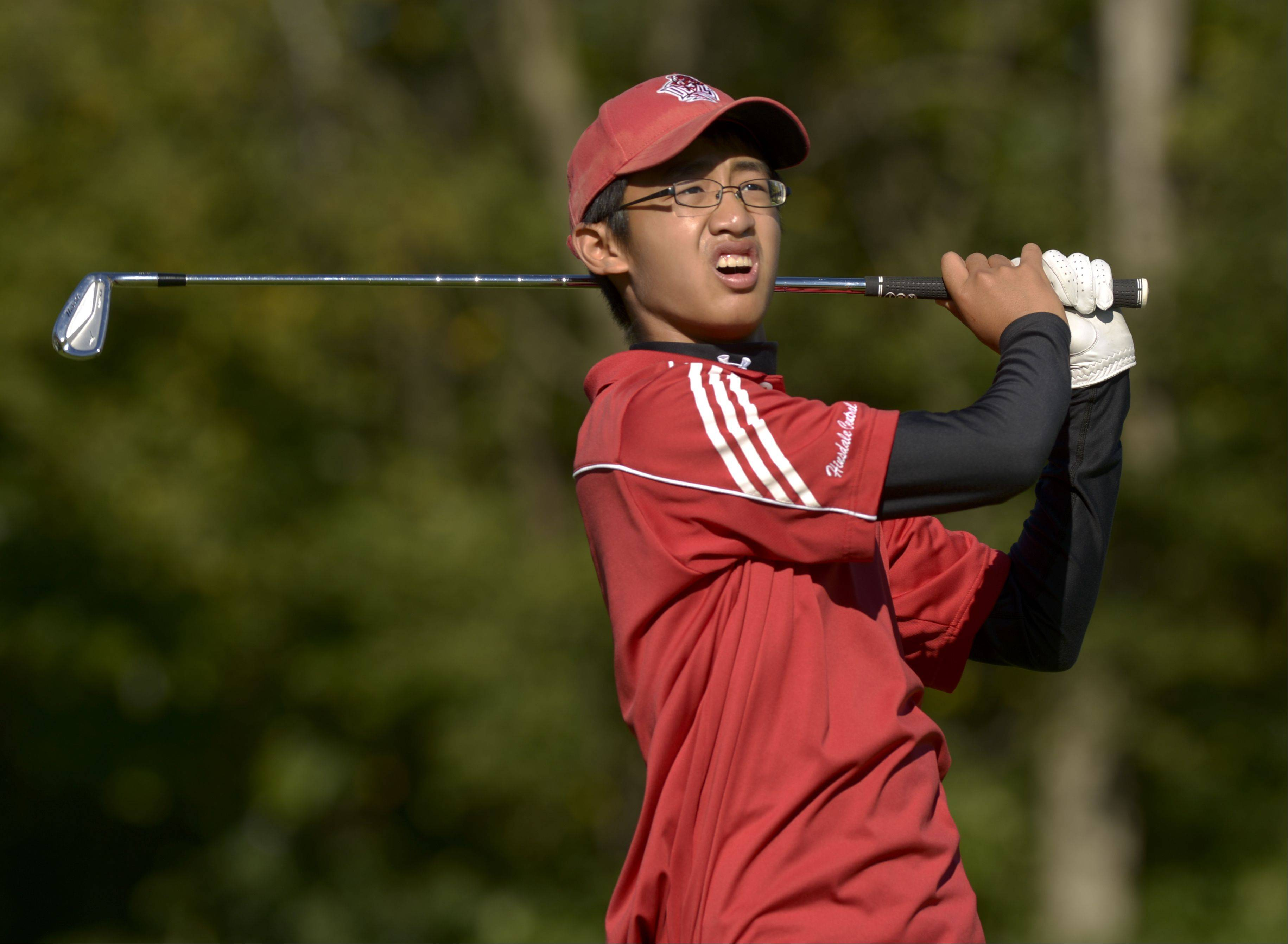 Kenneth Li of Hinsdale Central tees off on three during the Class 3A York regional boys golf at Maple Meadows Golf Course in Wood Dale, Tuesday.