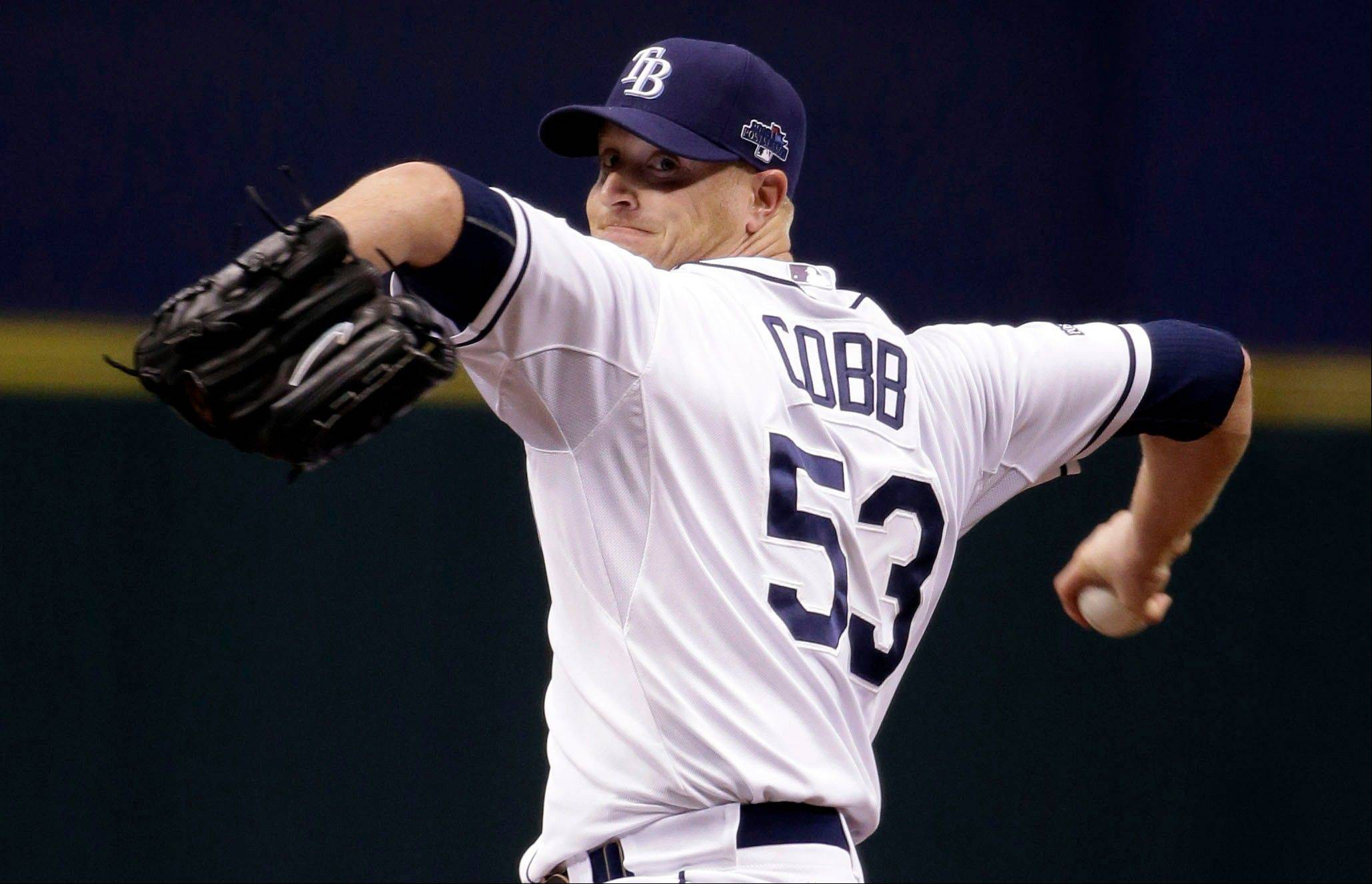 Tampa Bay Rays starting pitcher Alex Cobb throws in the first inning Monday in Game 3 of an American League Division Series against the Boston Red Sox.