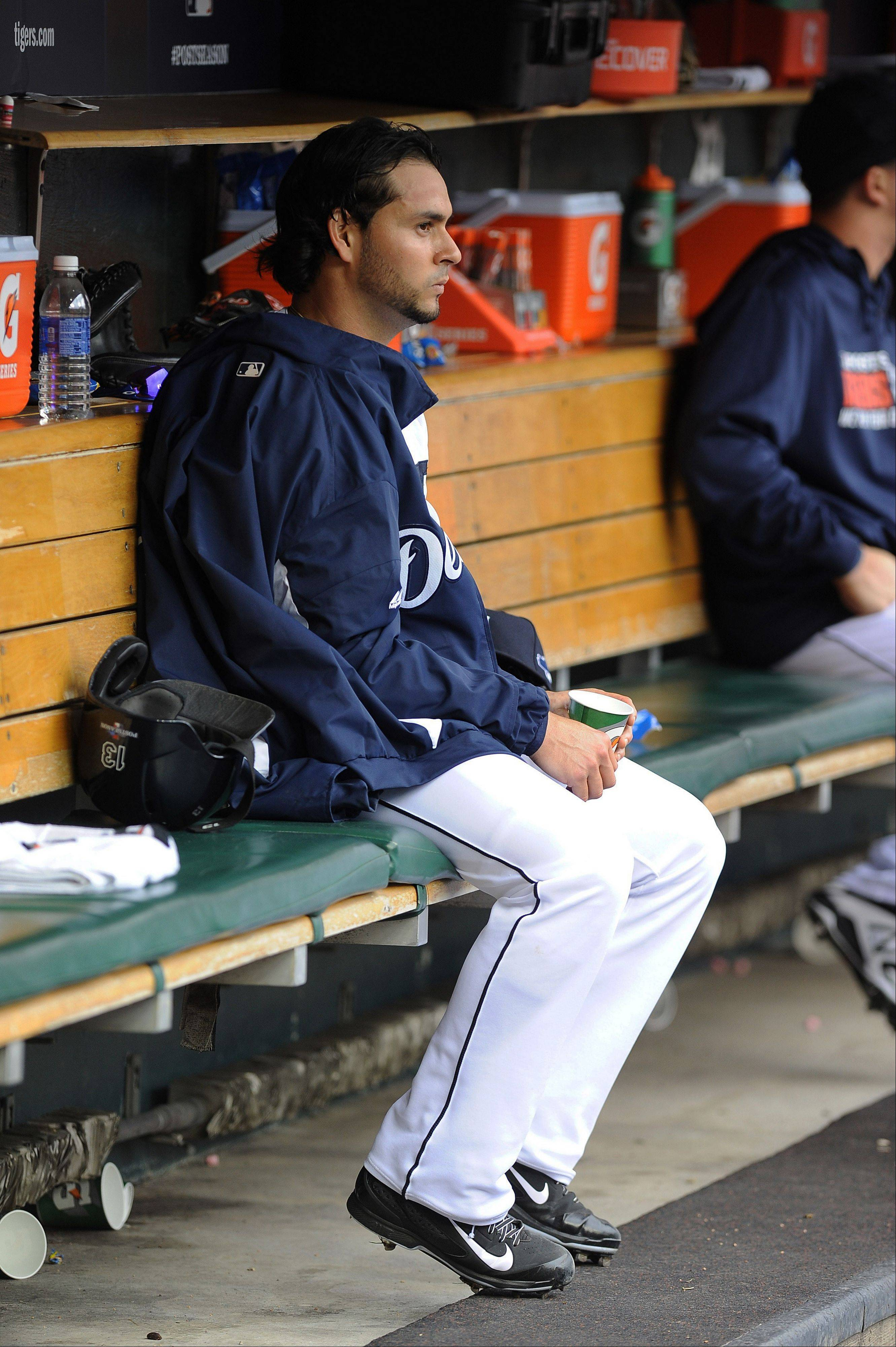 Tigers starting pitcher Anibal Sanchez sits in the dugout after being pulled during the fifth inning of Game 3 against the Oakland Athletics on Monday in Detroit.
