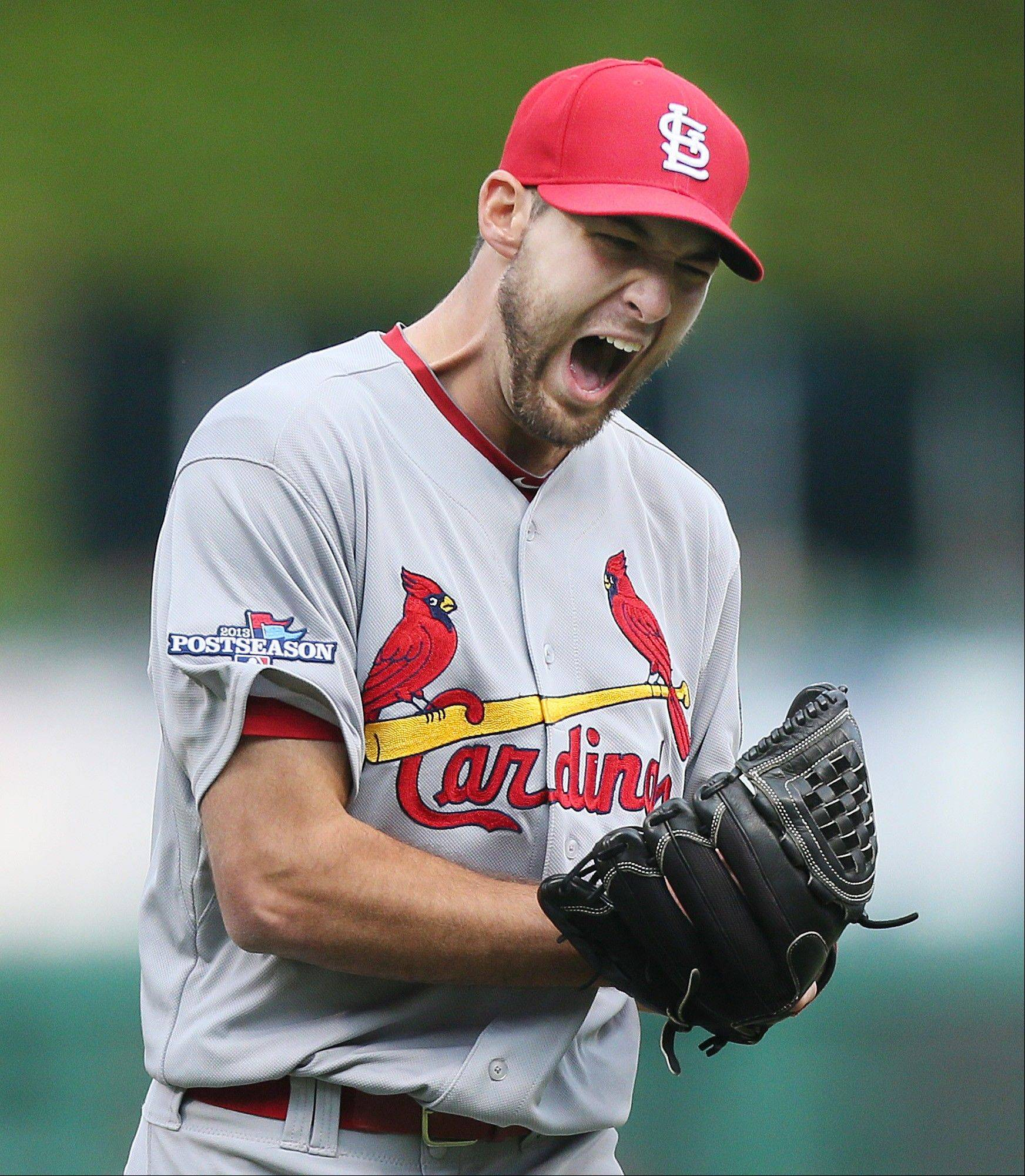 Cardinals starting pitcher Michael Wacha reacts to striking out the Pirates' Starling Marte to end the sixth inning in Game 4 Monday in Pittsburgh