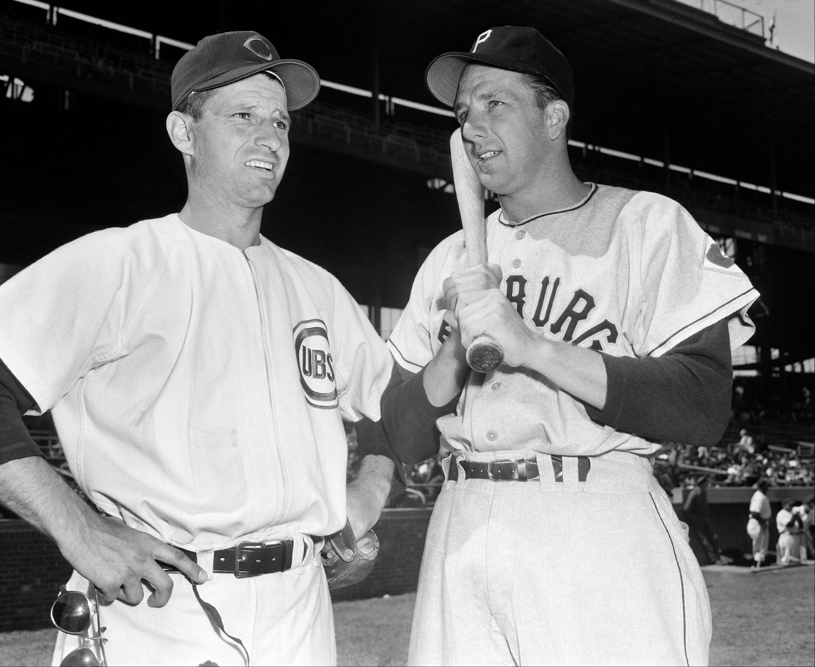 Andy Pafko (left), Chicago Cubs outfielder, with Ralph Kiner of the Pittsburgh Pirates at Wrigley Field, Chicago, before their game on April 23, 1951. Pafko died Tuesday.