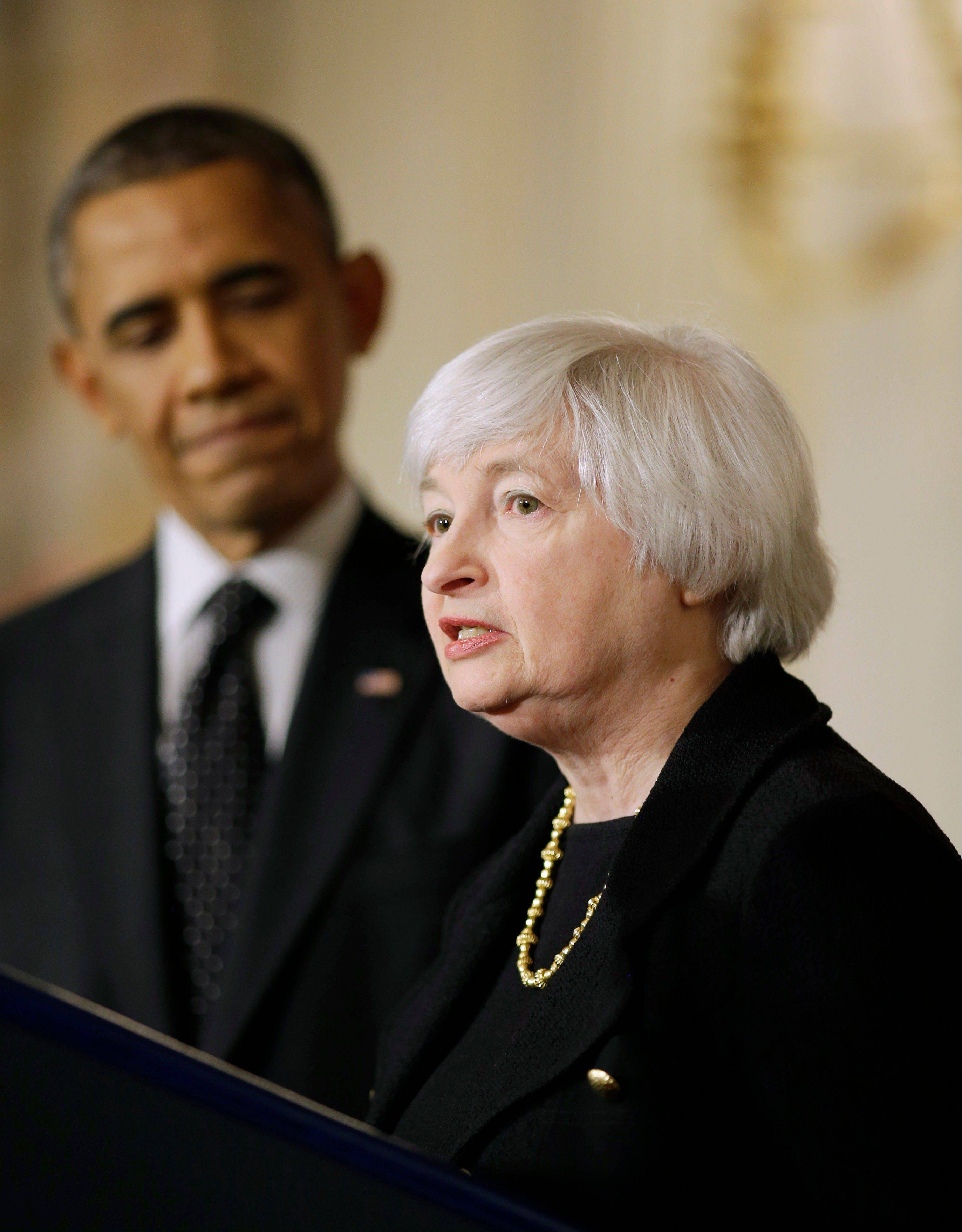 President Barack Obama listens as Janet Yellen, vice chair of the Board of Governors of the Federal Reserve System, speaks at the White House Wednesday after the president announced he is nominating Yellen to be chair of the Federal Reserve, succeeding Ben Bernanke.
