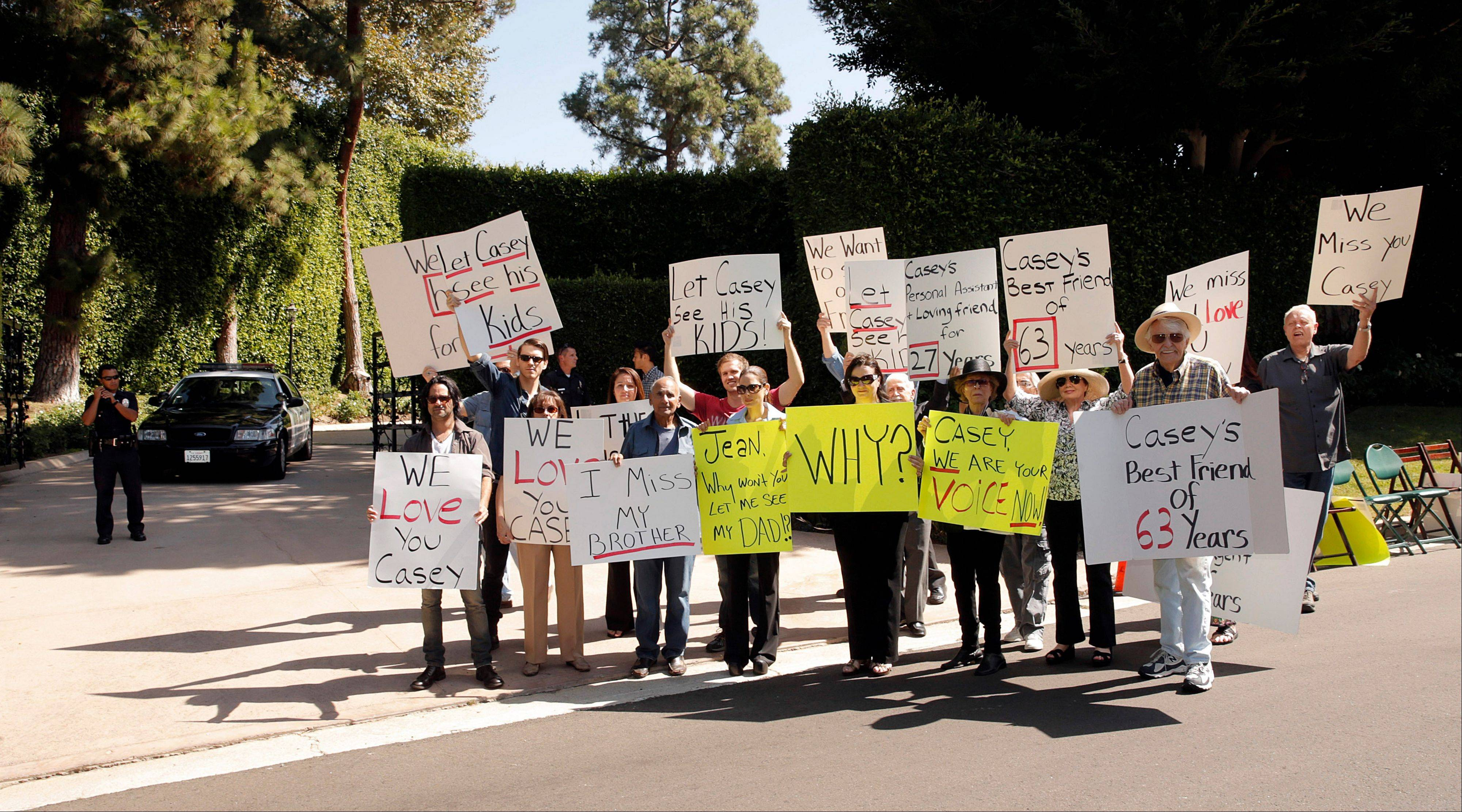 Friends and family of veteran radio personality Casey Kasem stage a protest outside his home in Beverly Hills, Calif. Kasem's children from a former marriage, his brother and friends who want to see him have been denied any contact with him by his current wife, Jean Kasem. The three adult children of the radio host have filed a legal petition to gain control of his health care.