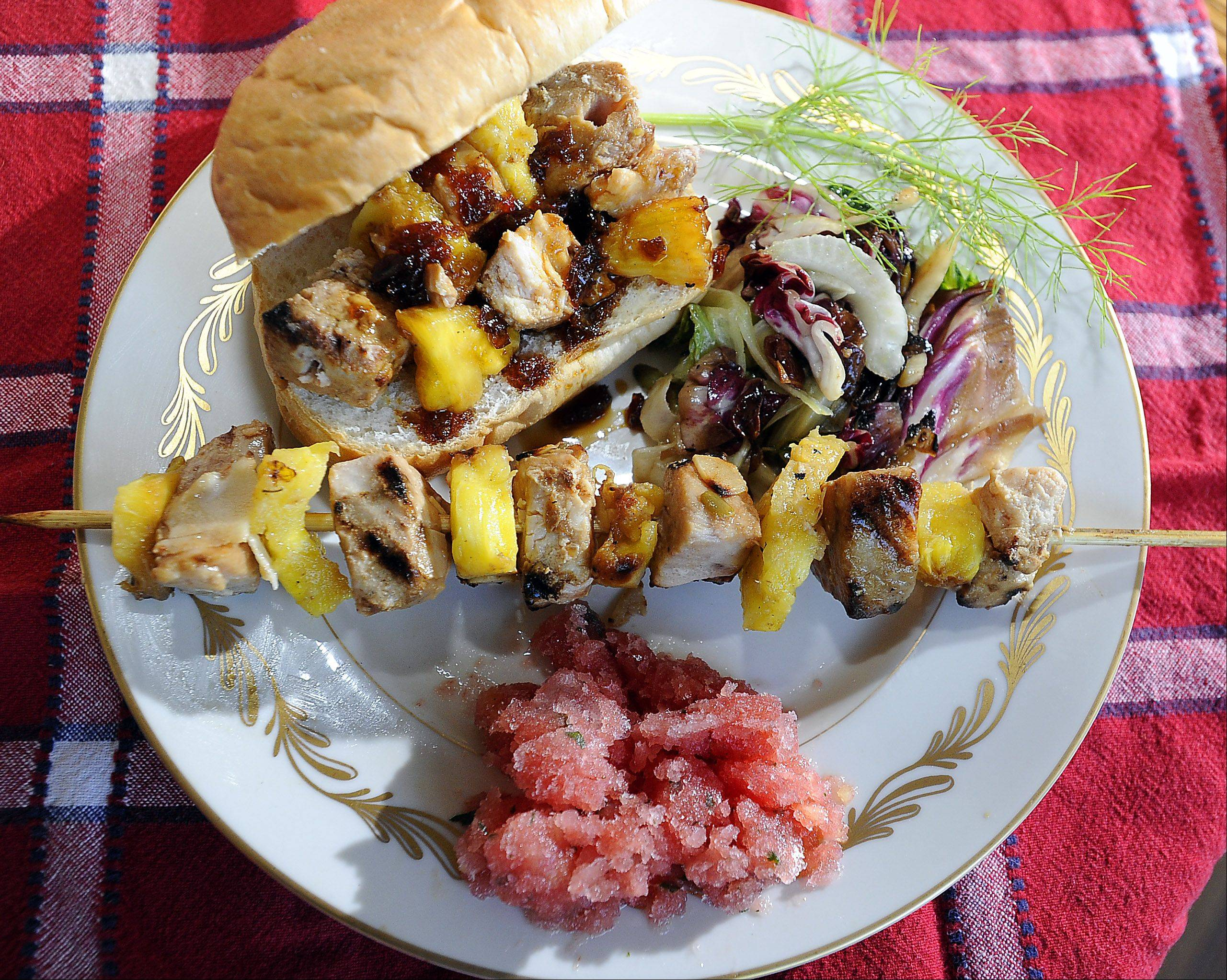 Palatine's Christine Murphy made swordfish kebabs with pineapple and Sweet Bourbon Glaze for her Cook of the Week Challenge tailgate challenge.