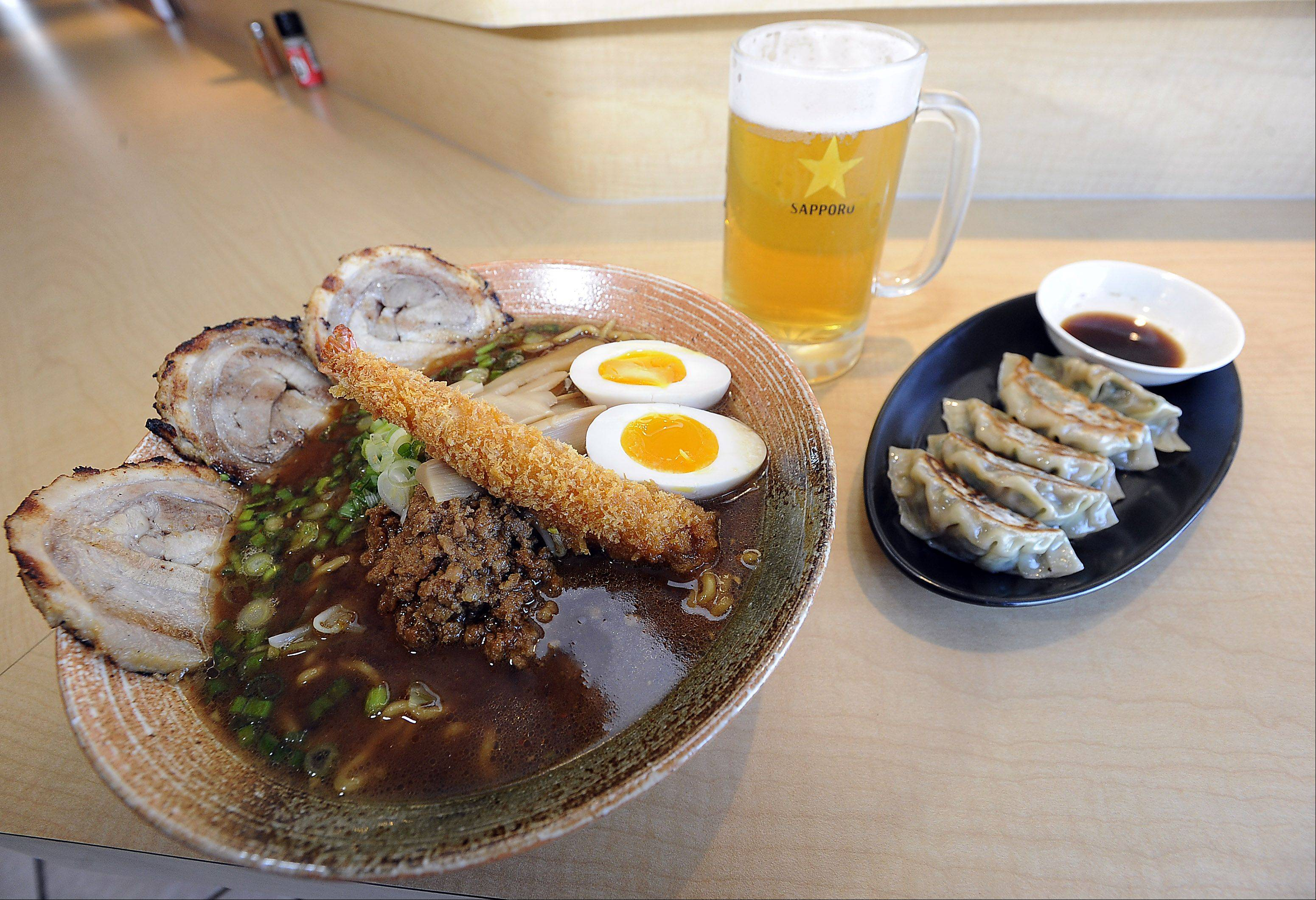 Nagoya-style mame miso with egg gyoza is a staple at Mount Prospect's Ramen Misoya.