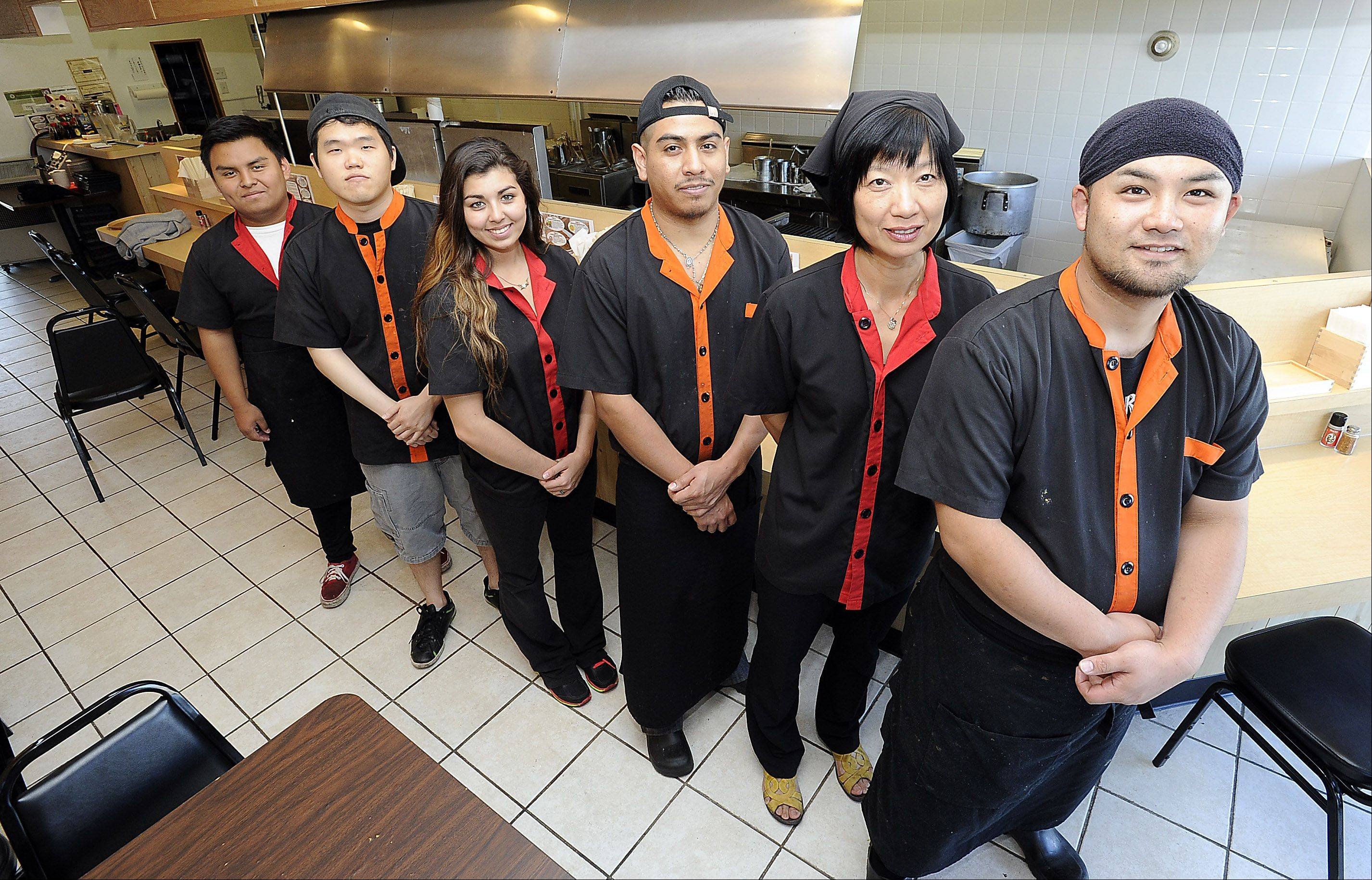 The crew at Mount Prospect's Ramen Misoya includes manager Kohei Tomita, front, Linda Sullivan, Noe Rosales, Starr Tsuruta, Sang Lee and Erick Crisostomo.