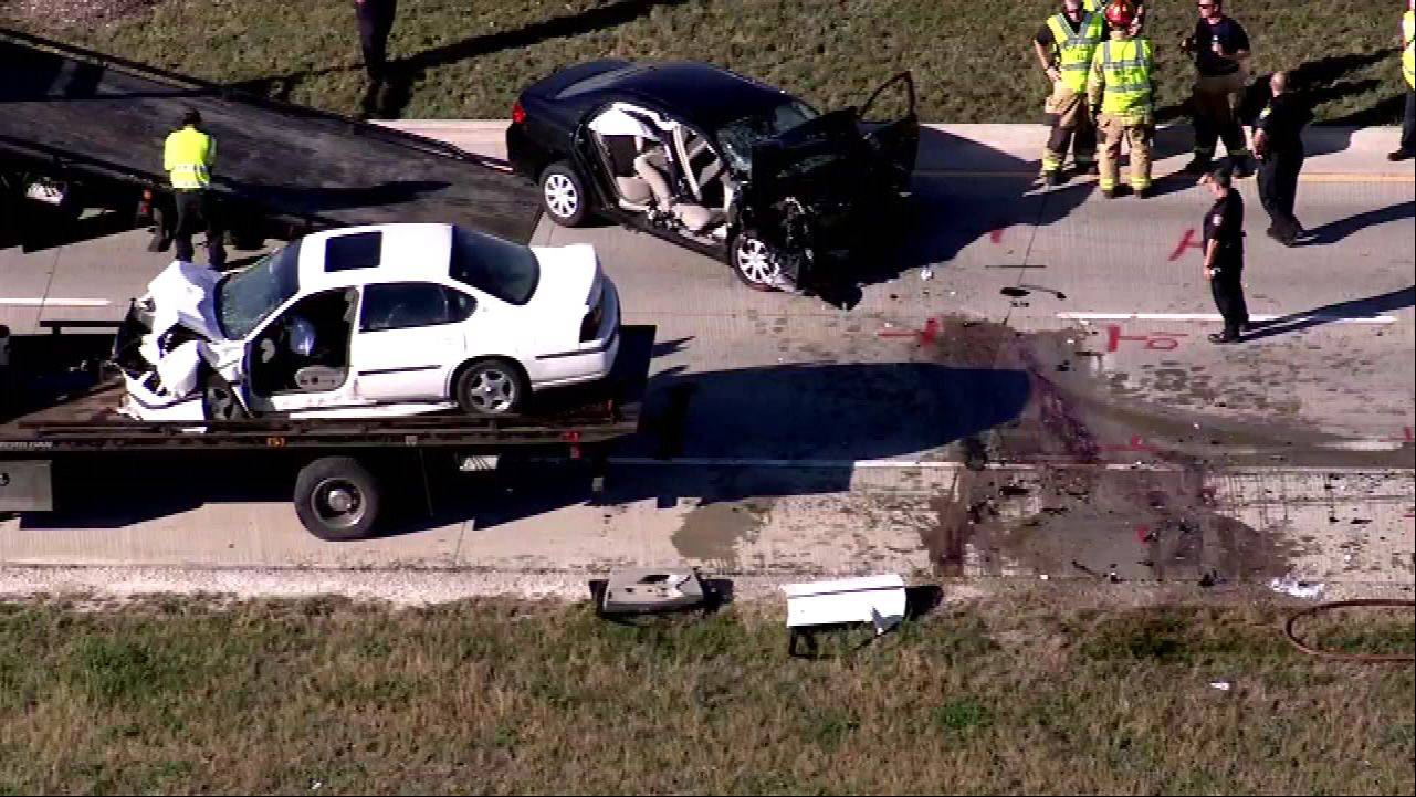 This aerial photo shows the aftermath of a head-on crash which occurred Wednesday afternoon in South Elgin near the intersection of McDonald and Randall roads.