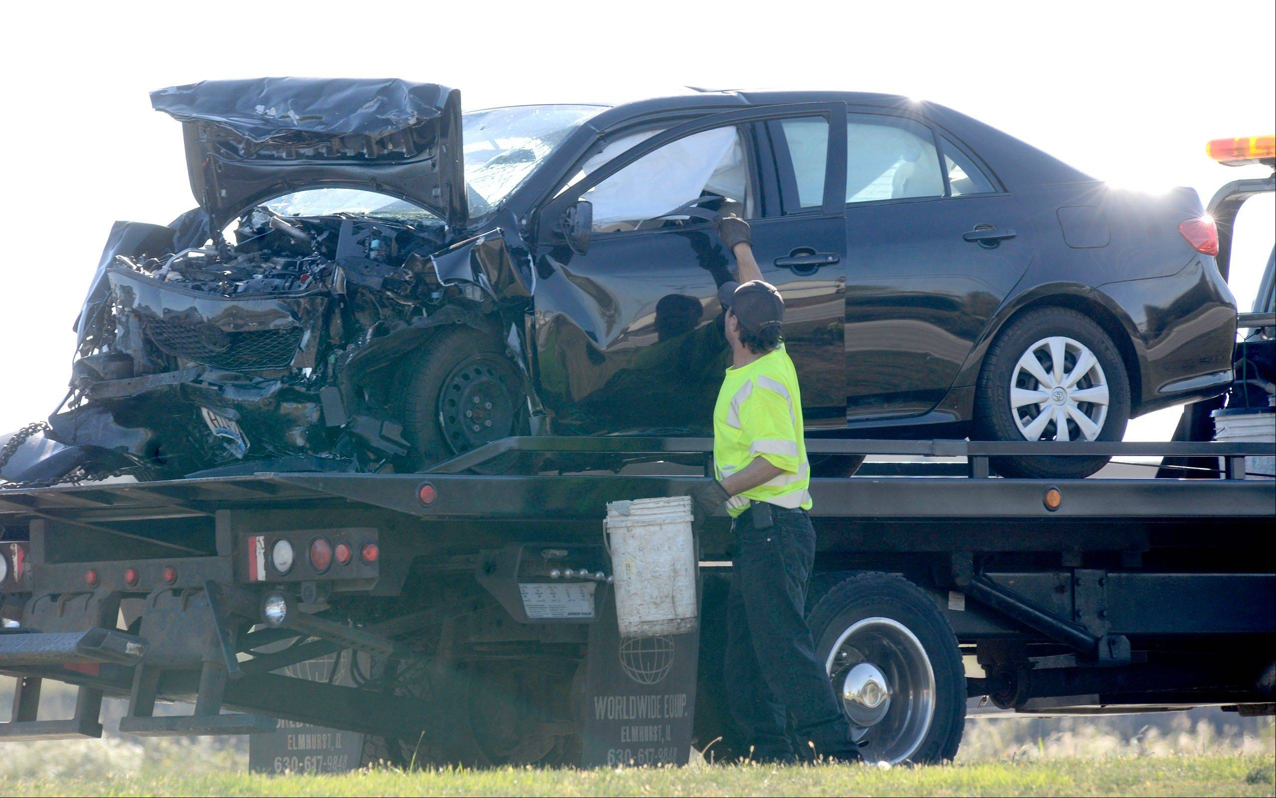 At least two cars were damaged in a head-on crash Wednesday afternoon in South Elgin near the intersection of McDonald and Randall roads.