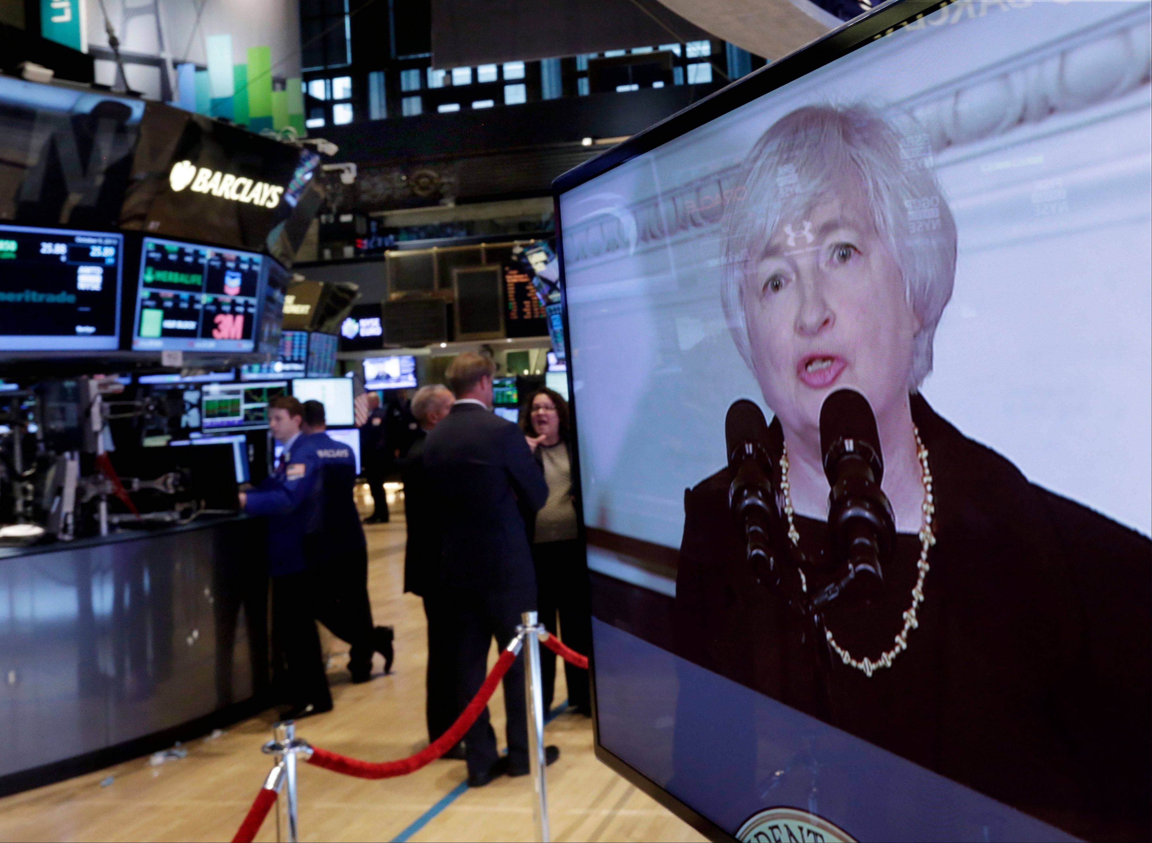 Federal Reserve Chair nominee Janet Yellen is shown on a television monitor on the trading floor of the New York Stock Exchange Wednesday, when President Barack Obama announced she was his choice to succeed Ben Bernanke.