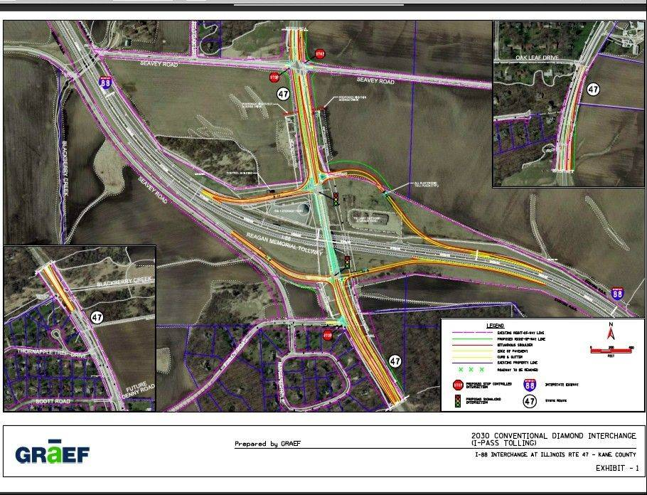 A conceptual drawing of the completed interchange at I-88 and Route 47 in Sugar Grove.