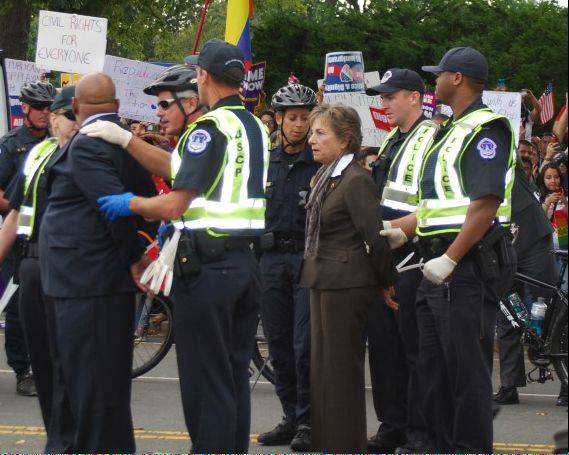 U.S. Rep. Jan Schakowsky was arrested at an immigration rally in Washington, D.C., Tuesday.