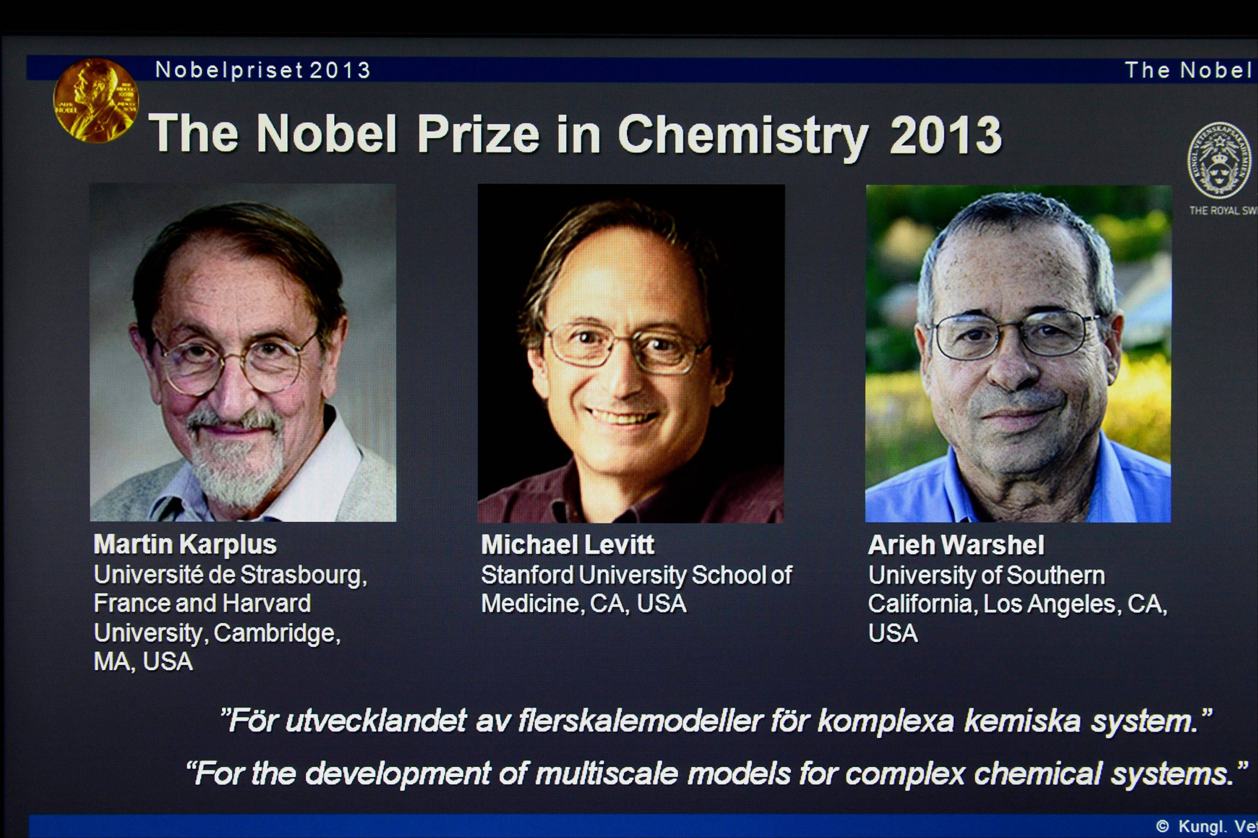A webpage showing the laureates Martin Karplus, Michael Levitt and Arieh Warshel as winners of the 2013 Nobel Prize in chemistry, announced by the Royal Swedish Academy of Sciences in Stockholm. The prize was awarded for laying the foundation for the computer models used to understand and predict chemical processes.