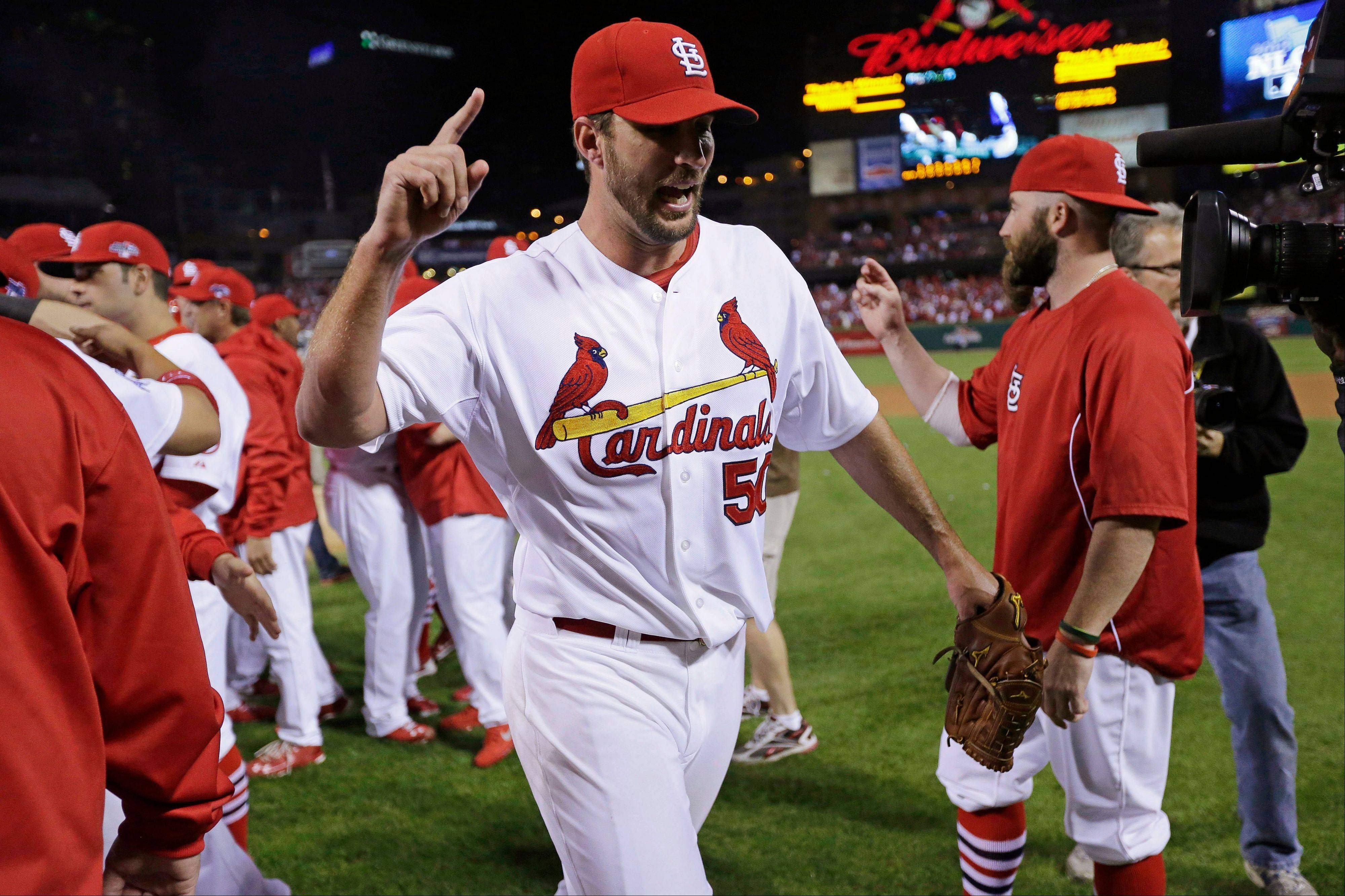 St. Louis Cardinals pitcher Adam Wainwright leaves the field Wednesday after the Cardinals defeated the Pittsburgh Pirates 6-1 in Game 5.