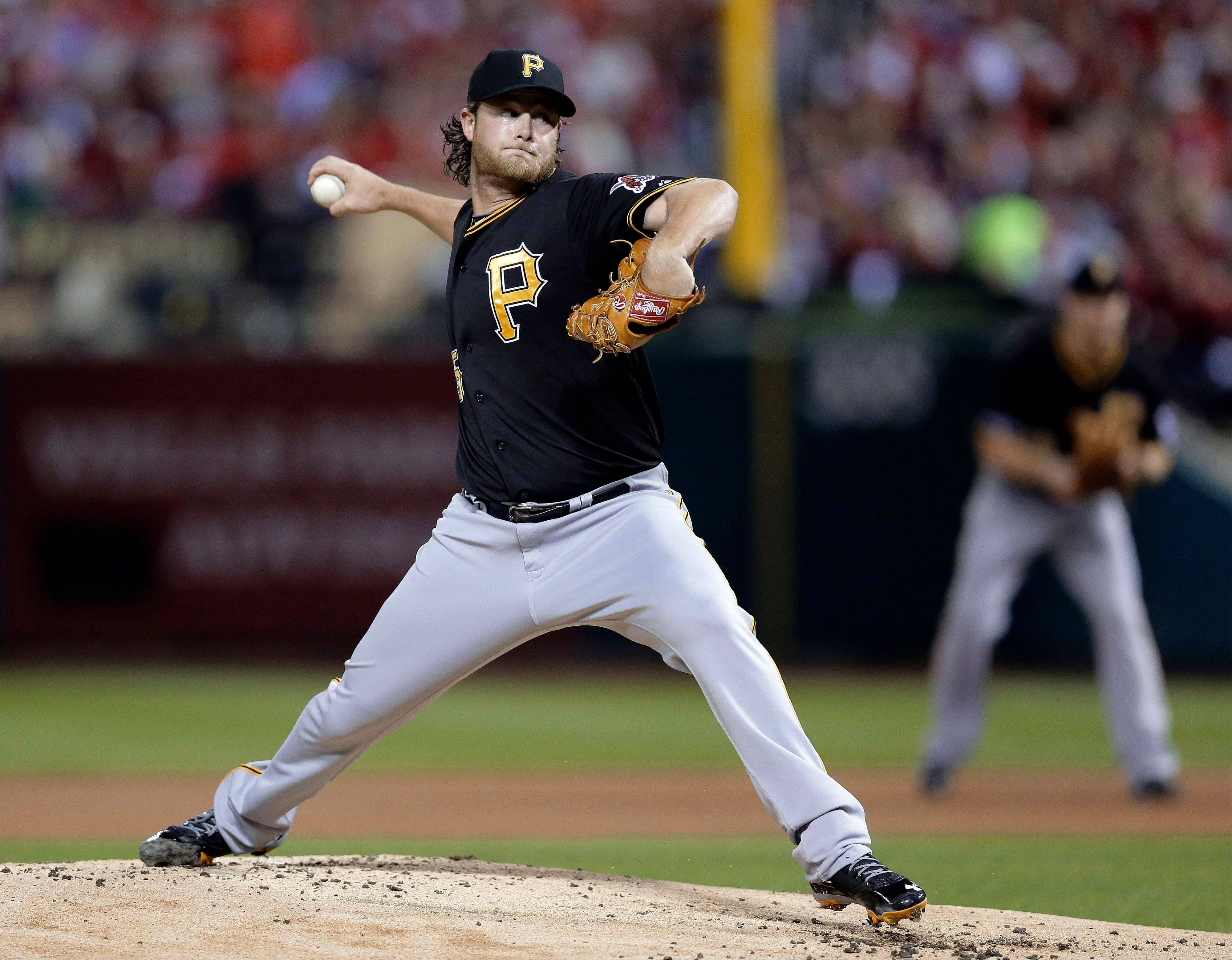 Pirates starter Gerrit Cole pitches against the St. Louis Cardinals in the first inning of Game 5.
