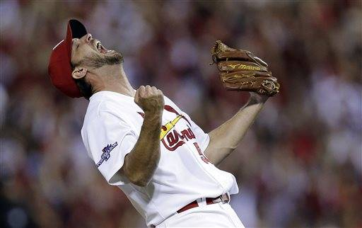 Adam Wainwright pitched a complete game and the St. Louis Cardinals got two-run homers from David Freese and Matt Adams to beat the Pittsburgh Pirates 6-1 on Wednesday night and advance to the NL championship series. Wainwright scattered eight hits in his second dominant win of the division series, coming through for the Cardinals in a winner-take-all Game 5.