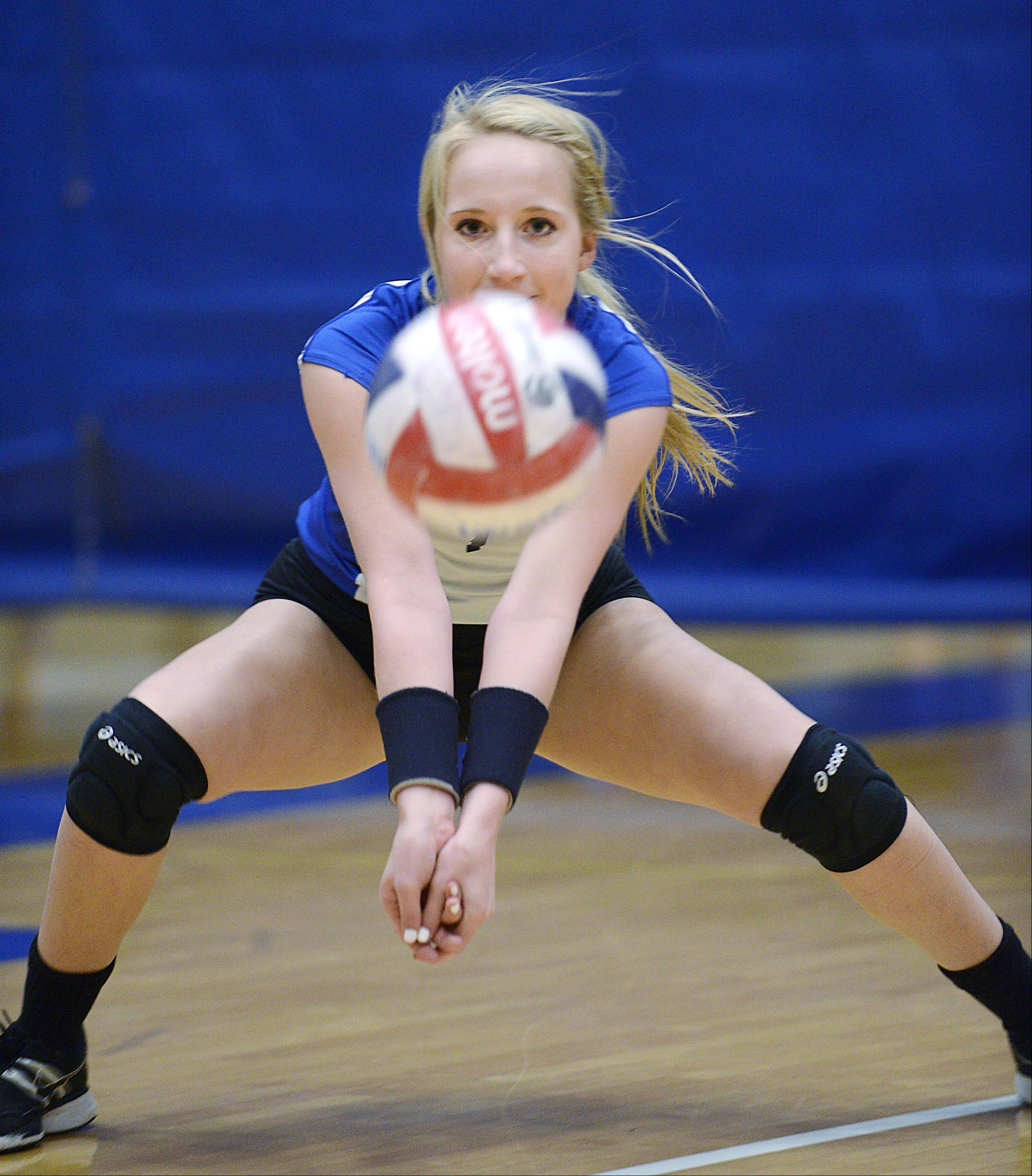 John Starks/jstarks@dailyherald.comAllie O'Reilly is Burlington Central's all-time digs leader.