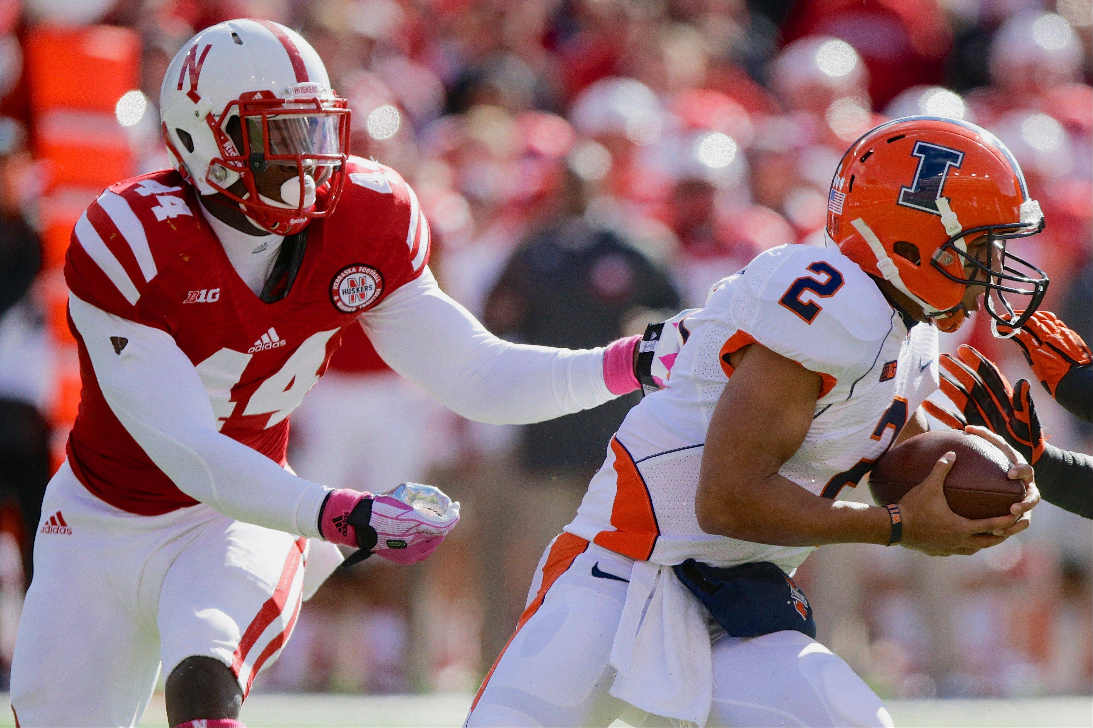 Nebraska defensive end Randy Gregory pursues Illinois quarterback Nathan Scheelhaase during last week's game in Lincoln, Neb.