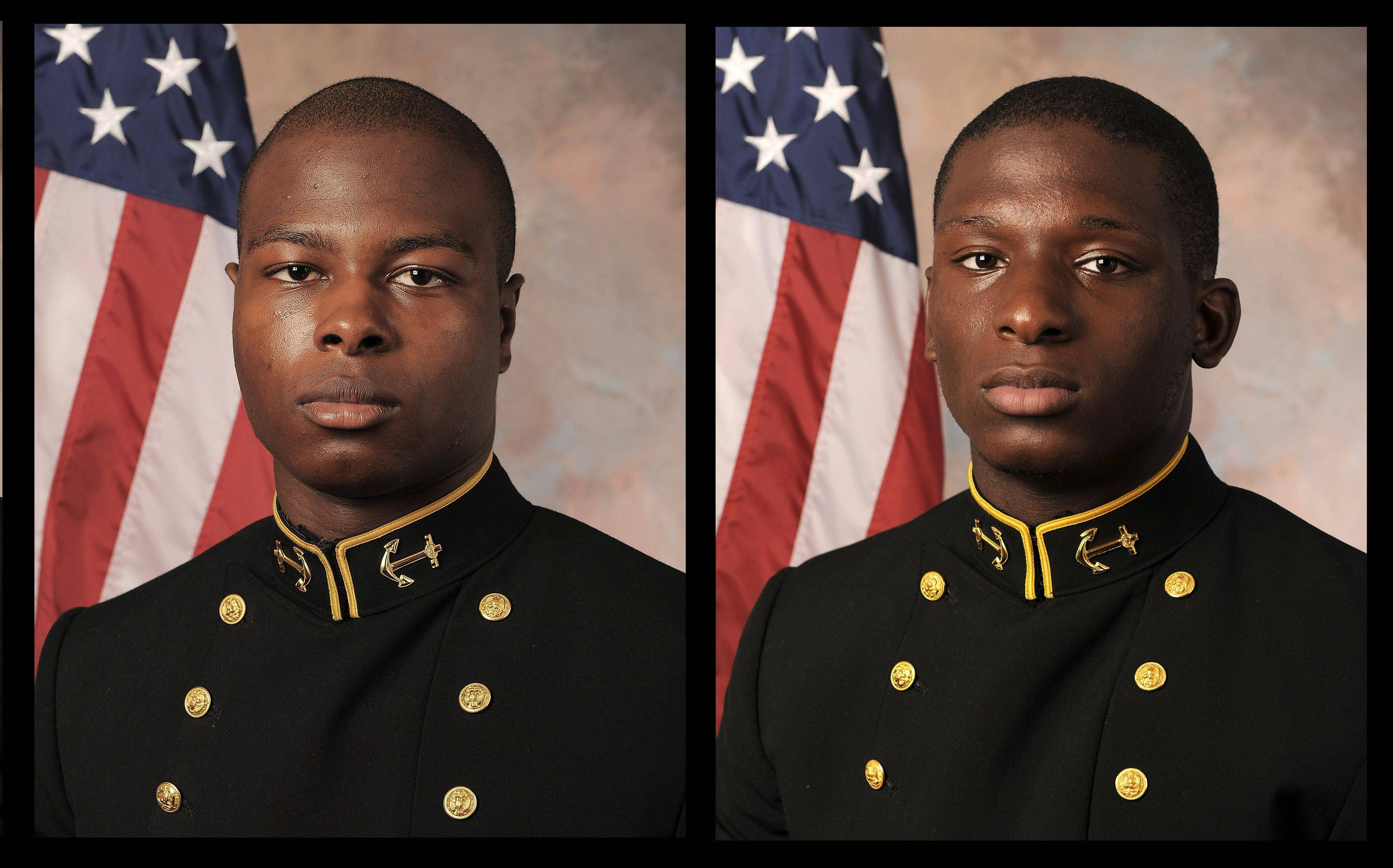 Midshipman Eric Graham, left, and Midshipman Josh Tate will face a court-martial in an alleged sexual assault at an off-campus party while a third will not, the U.S. Naval Academy superintendent said Thursday.