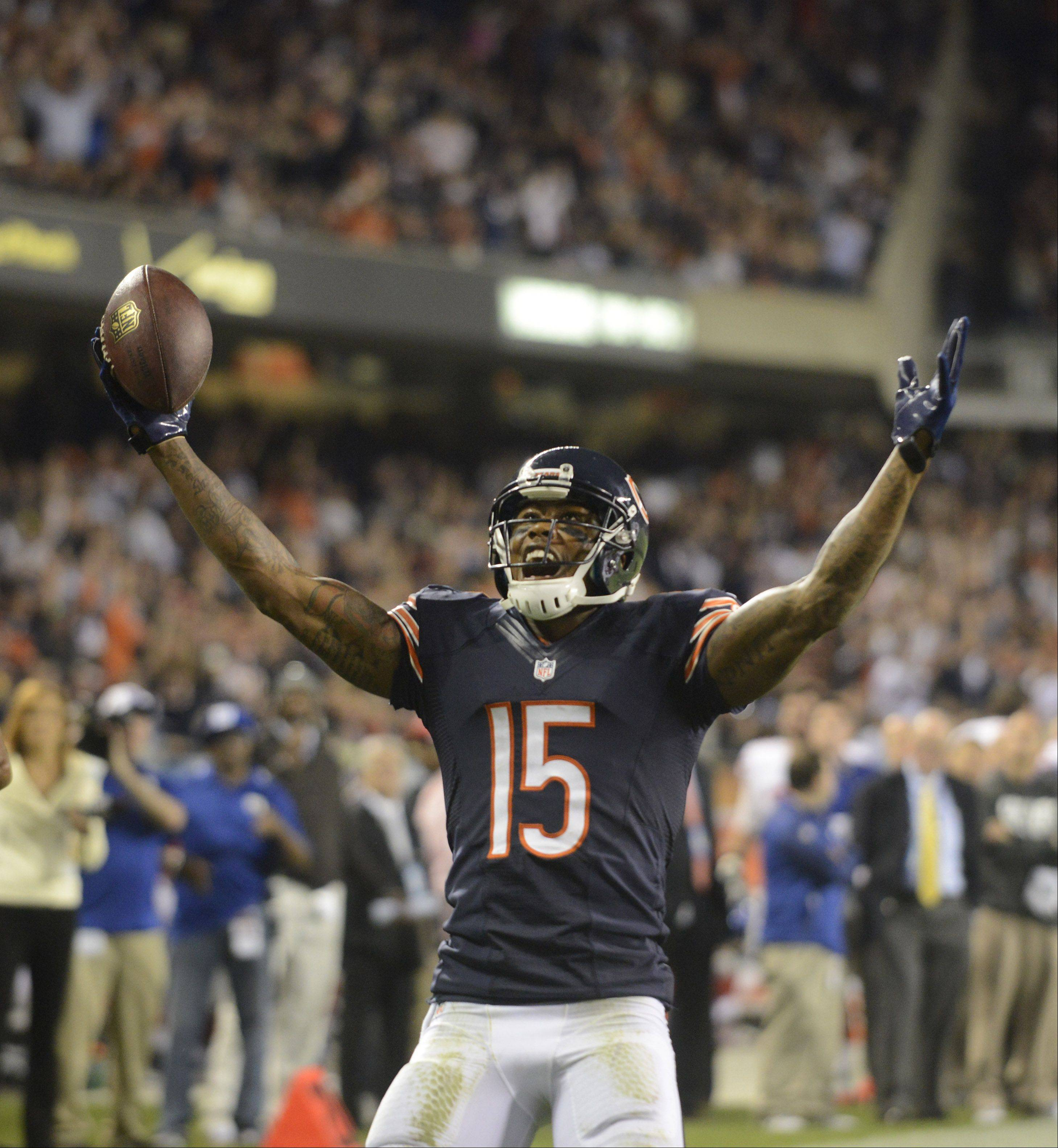 Chicago Bears wide receiver Brandon Marshall celebrates his first touchdown.
