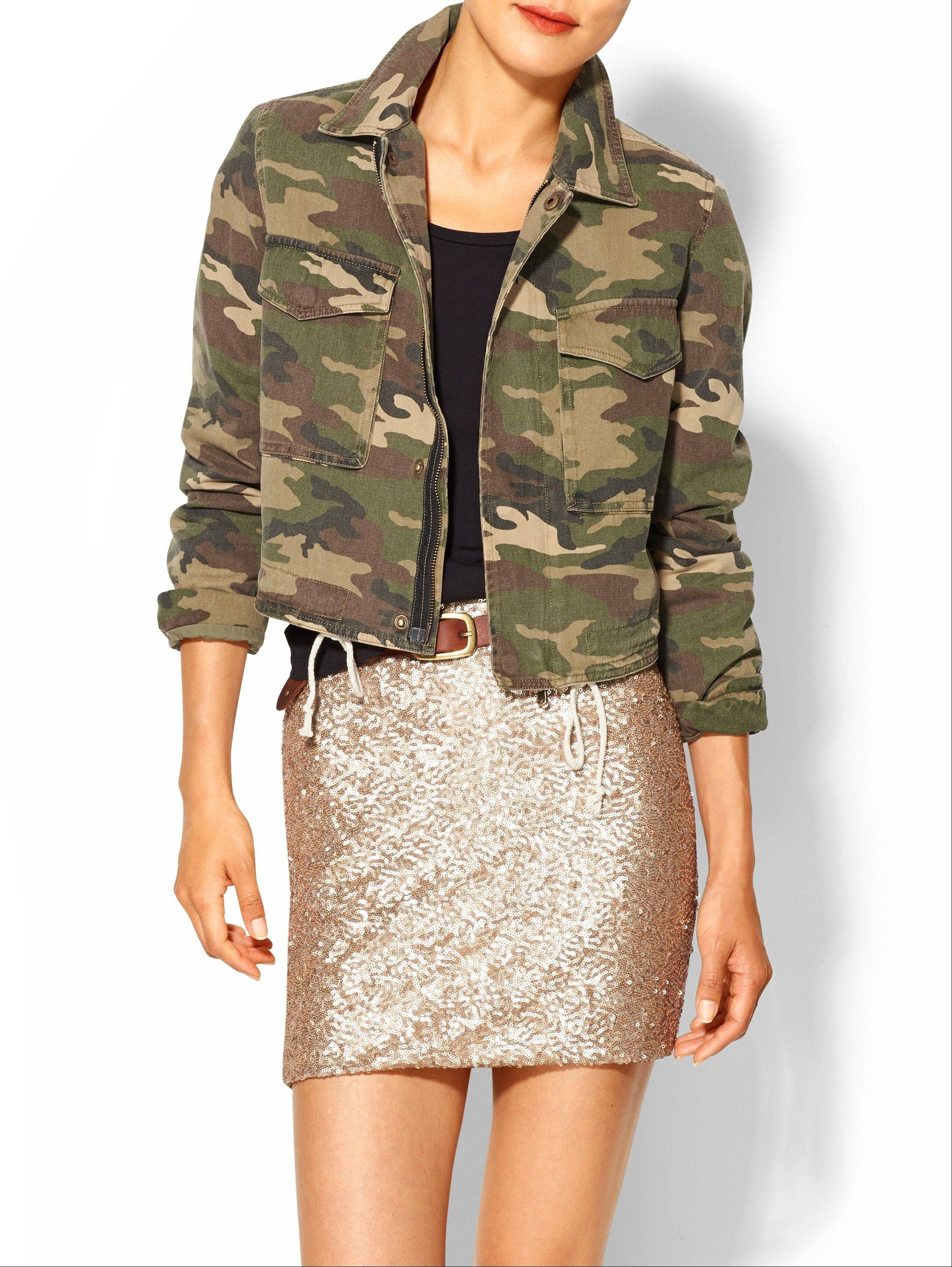 Camouflage has been adapted in luxe fur, sequin sweaters, athletic wear and casual kicks. Piperlime is offering a camouflage cropped military jacket this season.