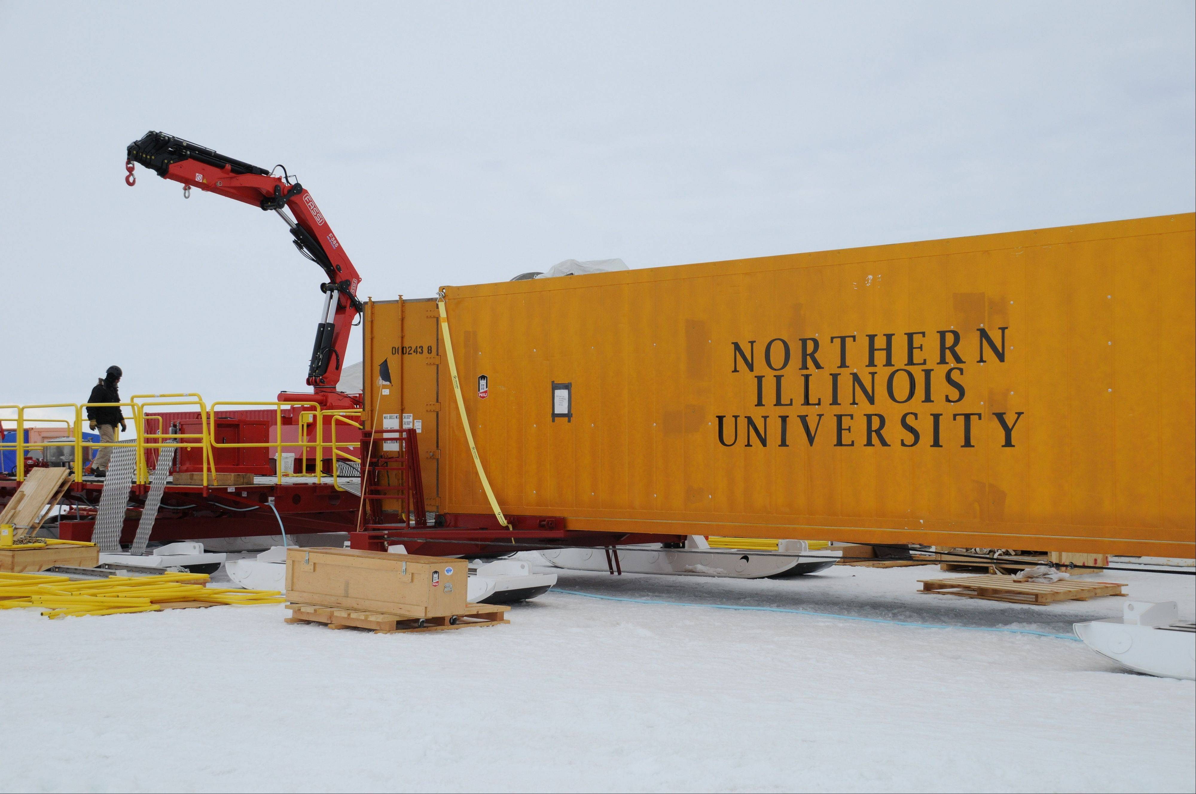 A shipping container houses a workshop for scientists and engineers in January 2013 at subglacial Lake Whillans in Antarctica. A Northern Illinois University team's trip this year is in jeopardy due to the partial federal government shutdown.