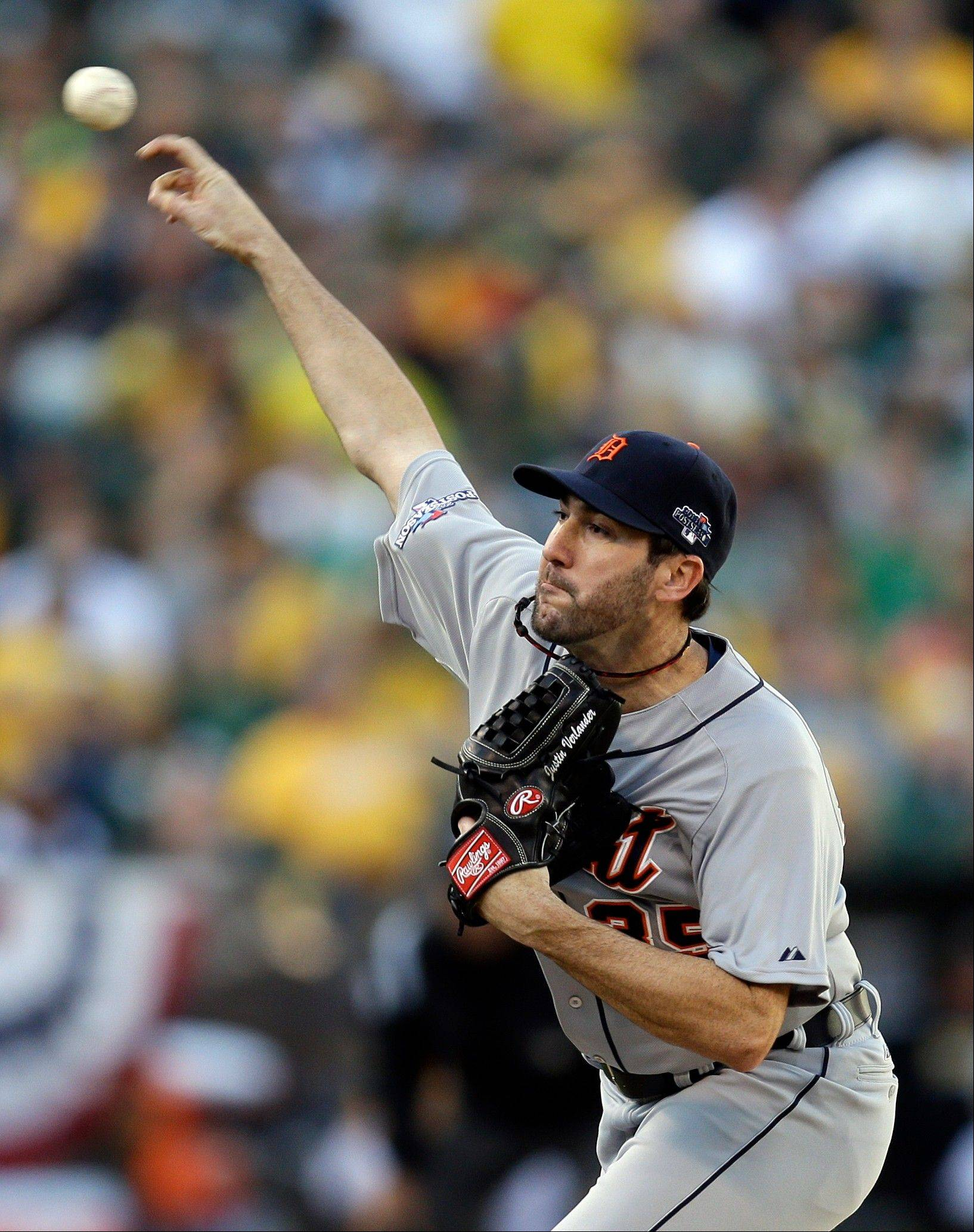 Tigers pitcher Justin Verlander delivers a pitch in the first inning of Game 5. He had a no-hitter heading into the seventh inning.